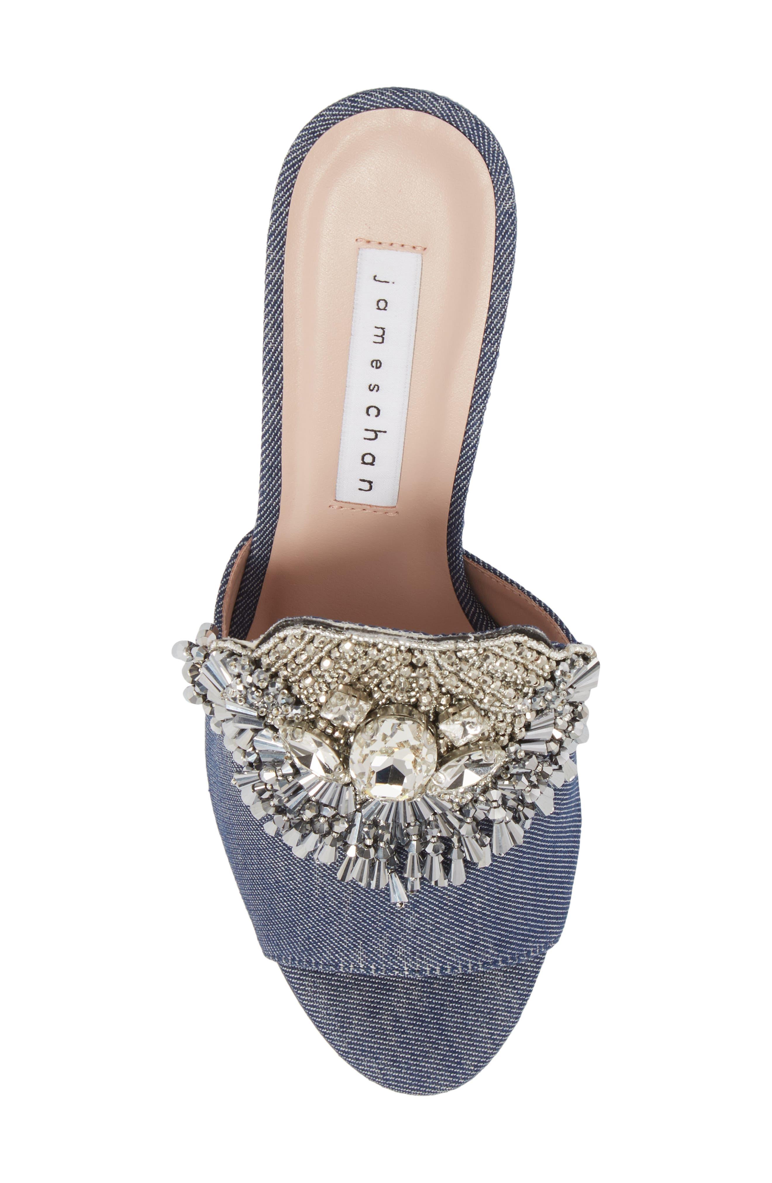 Adele Embellished Block Heel Sandal,                             Alternate thumbnail 5, color,                             Denim Patent