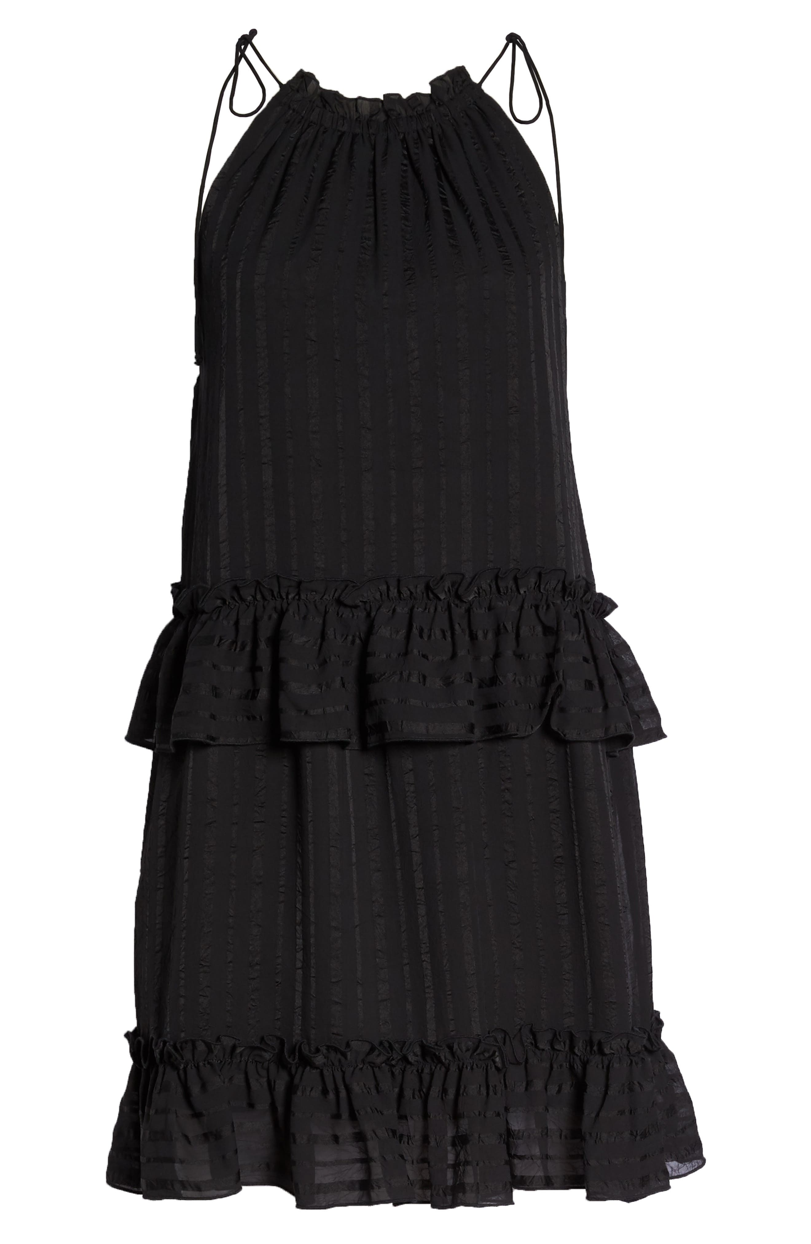 Lila Stripe Chiffon Halter Dress,                             Alternate thumbnail 7, color,                             Black