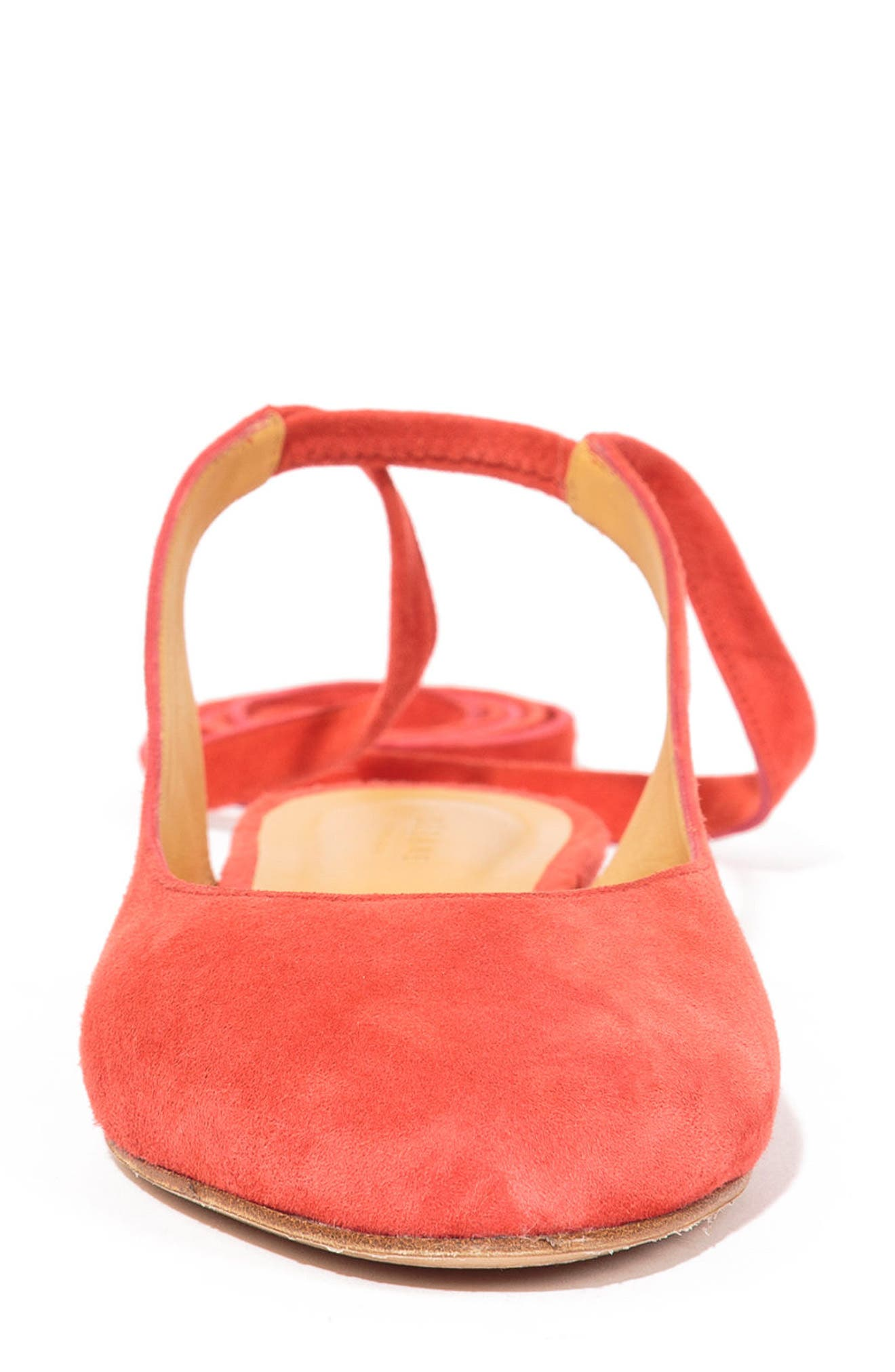 Nina Ballerina Ankle Wrap Flat,                             Alternate thumbnail 4, color,                             Coral Red Suede