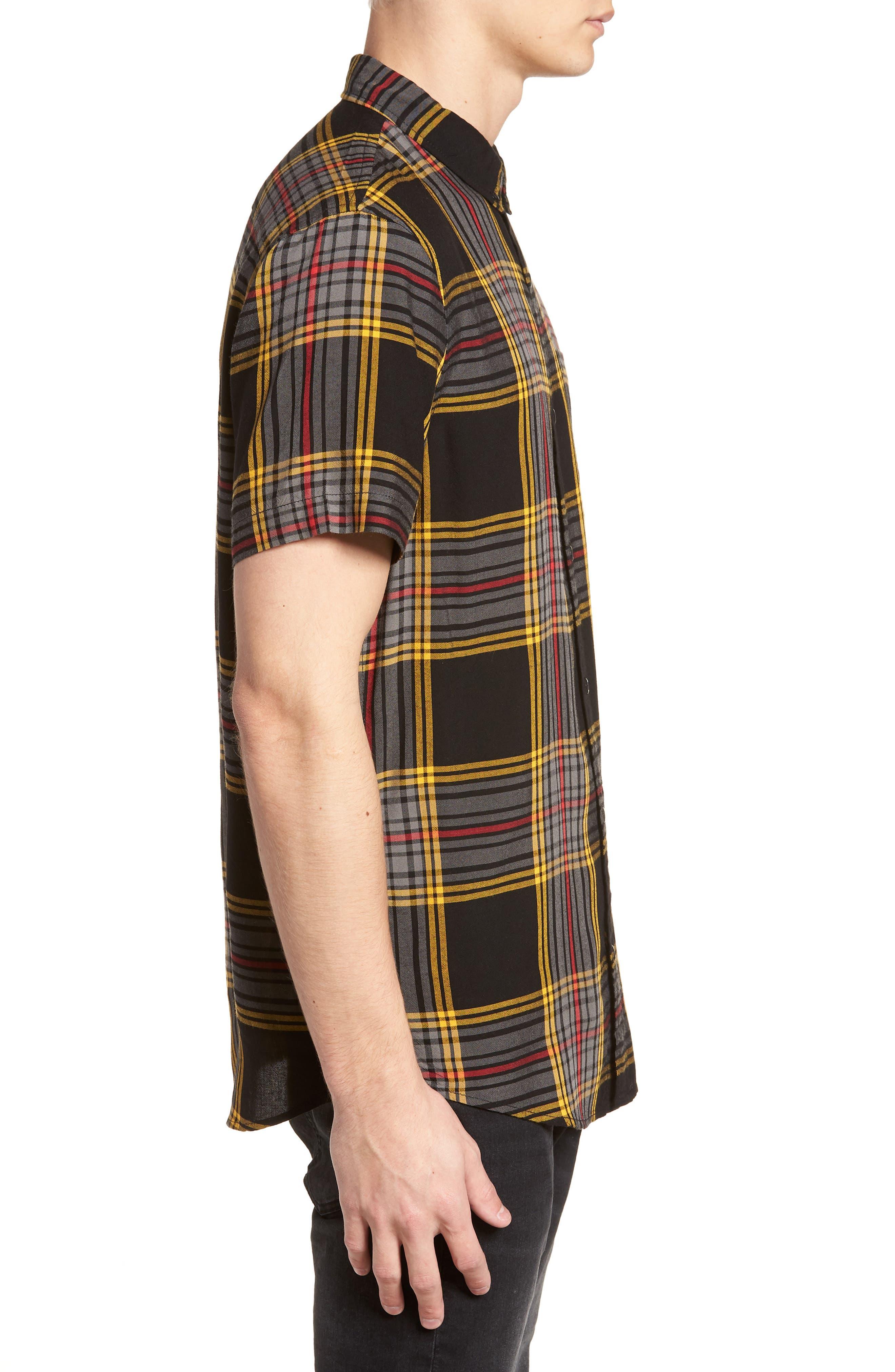 Yarn Dyed Plaid Shirt,                             Alternate thumbnail 4, color,                             Black Yellow Ethan Plaid