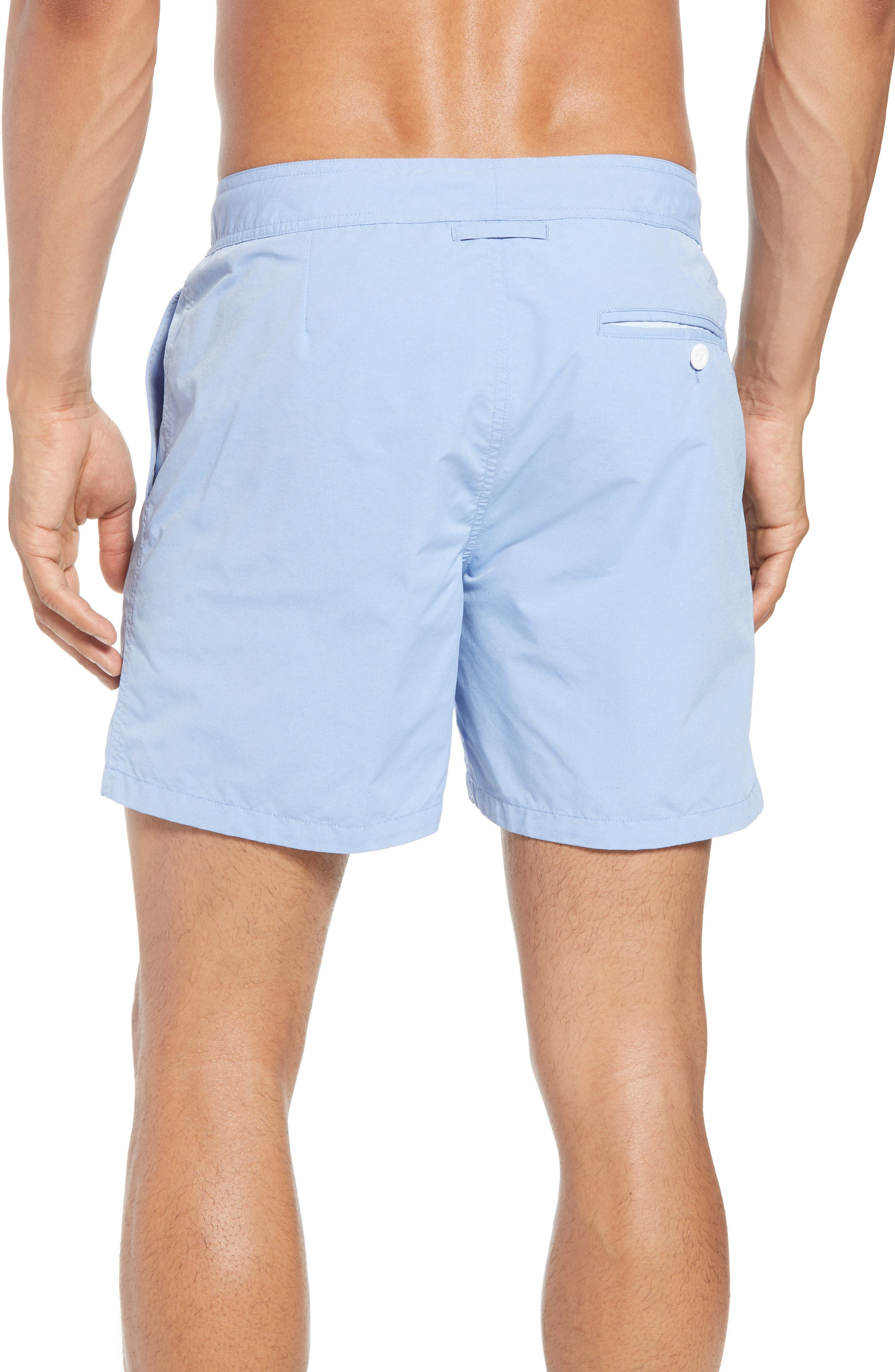 Solid 5-Inch Swim Trunks,                             Alternate thumbnail 2, color,                             Blue Chambray