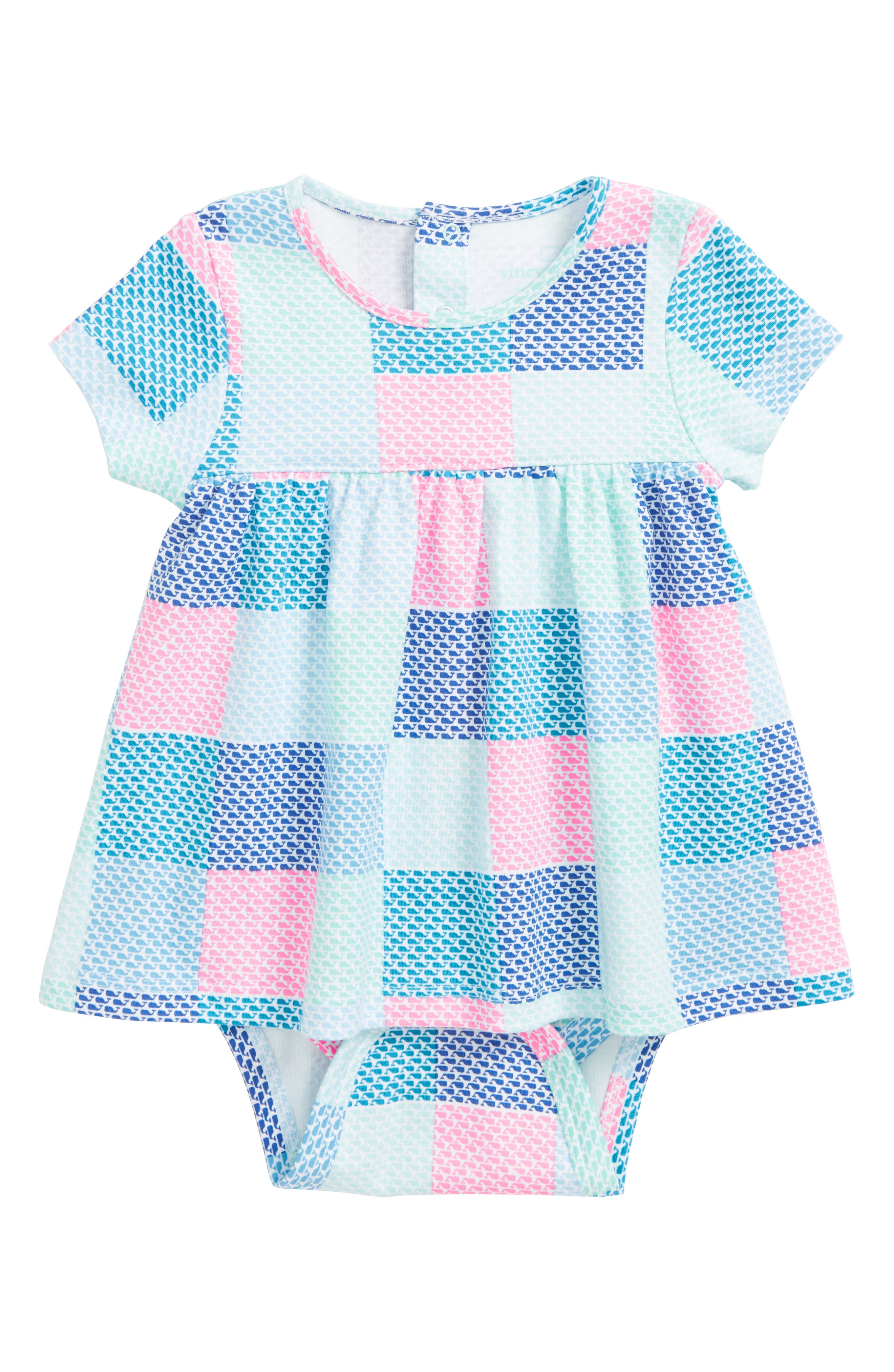 vineyard vines Whale Patchwork Skirted Bodysuit (Baby Girls)