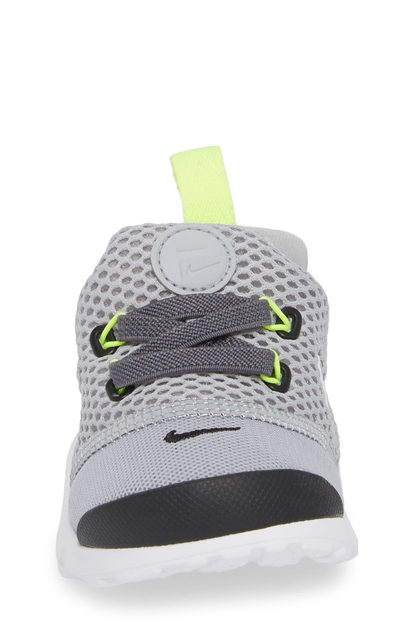 Presto Fly GS Sneaker,                             Alternate thumbnail 4, color,                             Grey/ White/ Black/ Volt