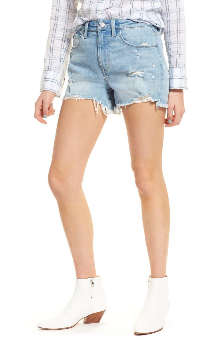 High Waist Boyfriend Cutoff Denim Shorts