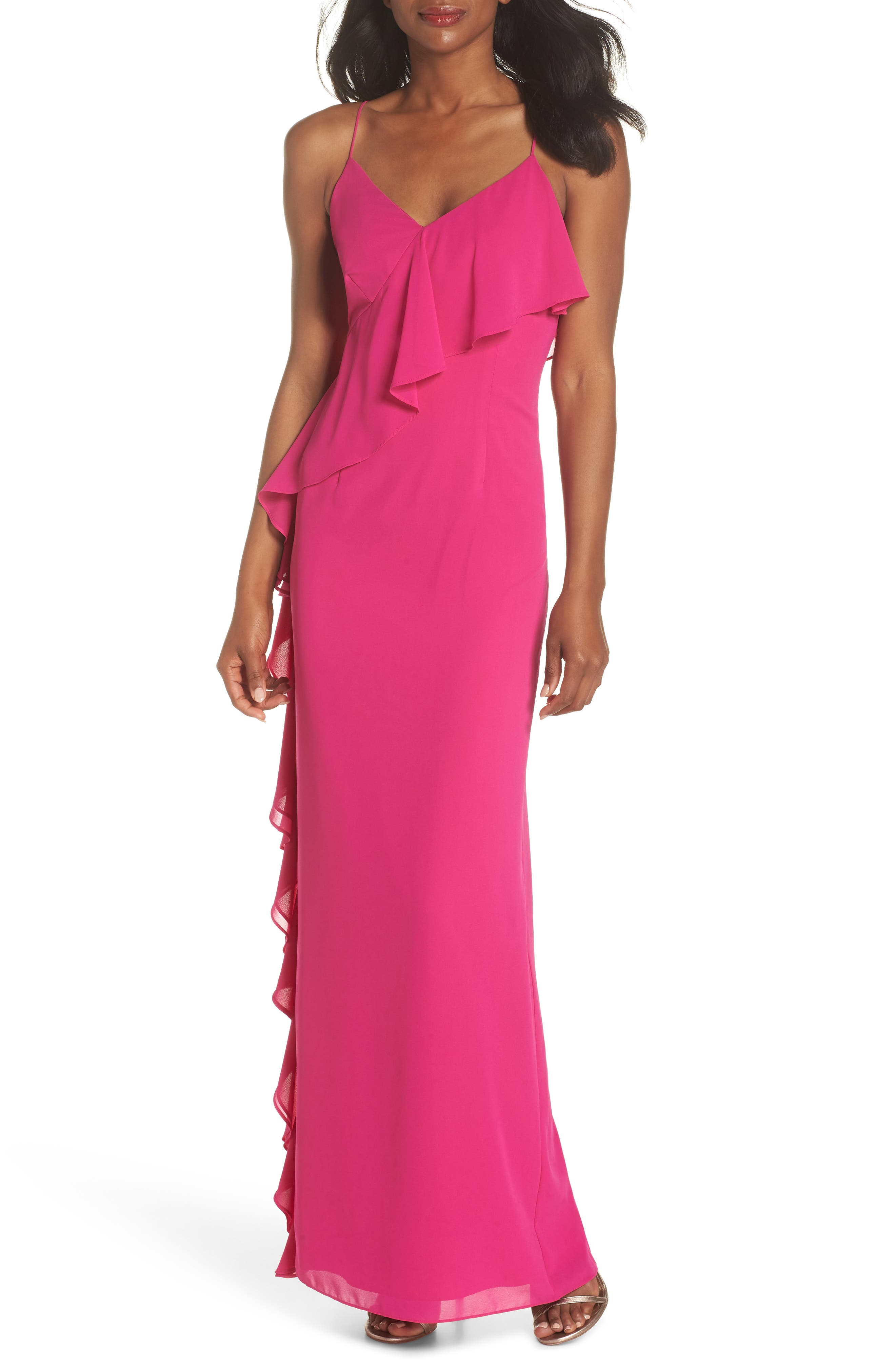 Asymmetrical Ruffle Column Gown,                         Main,                         color, Fuchsia