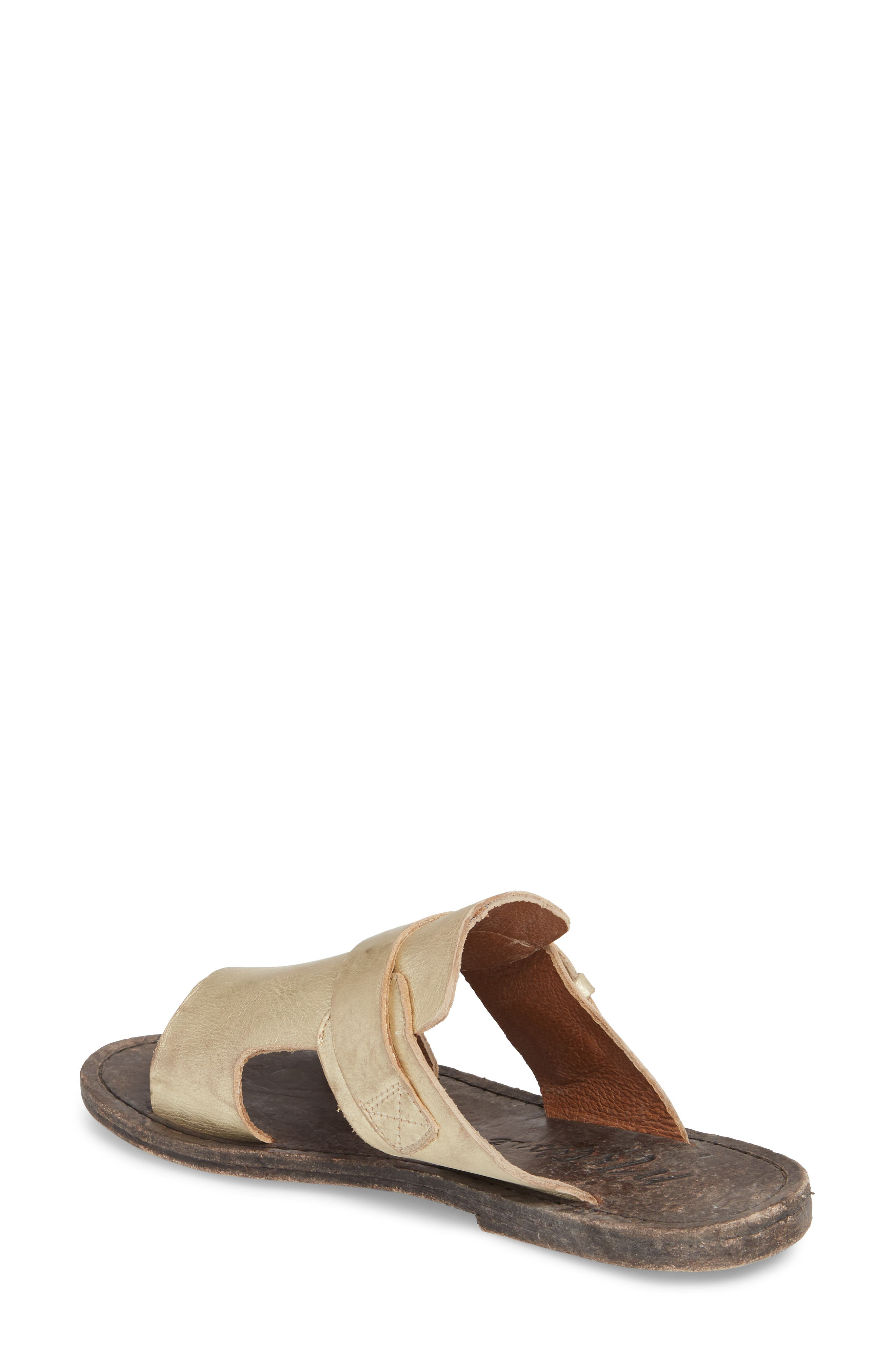 Abbie Slide Sandal,                             Alternate thumbnail 2, color,                             Gold Leather