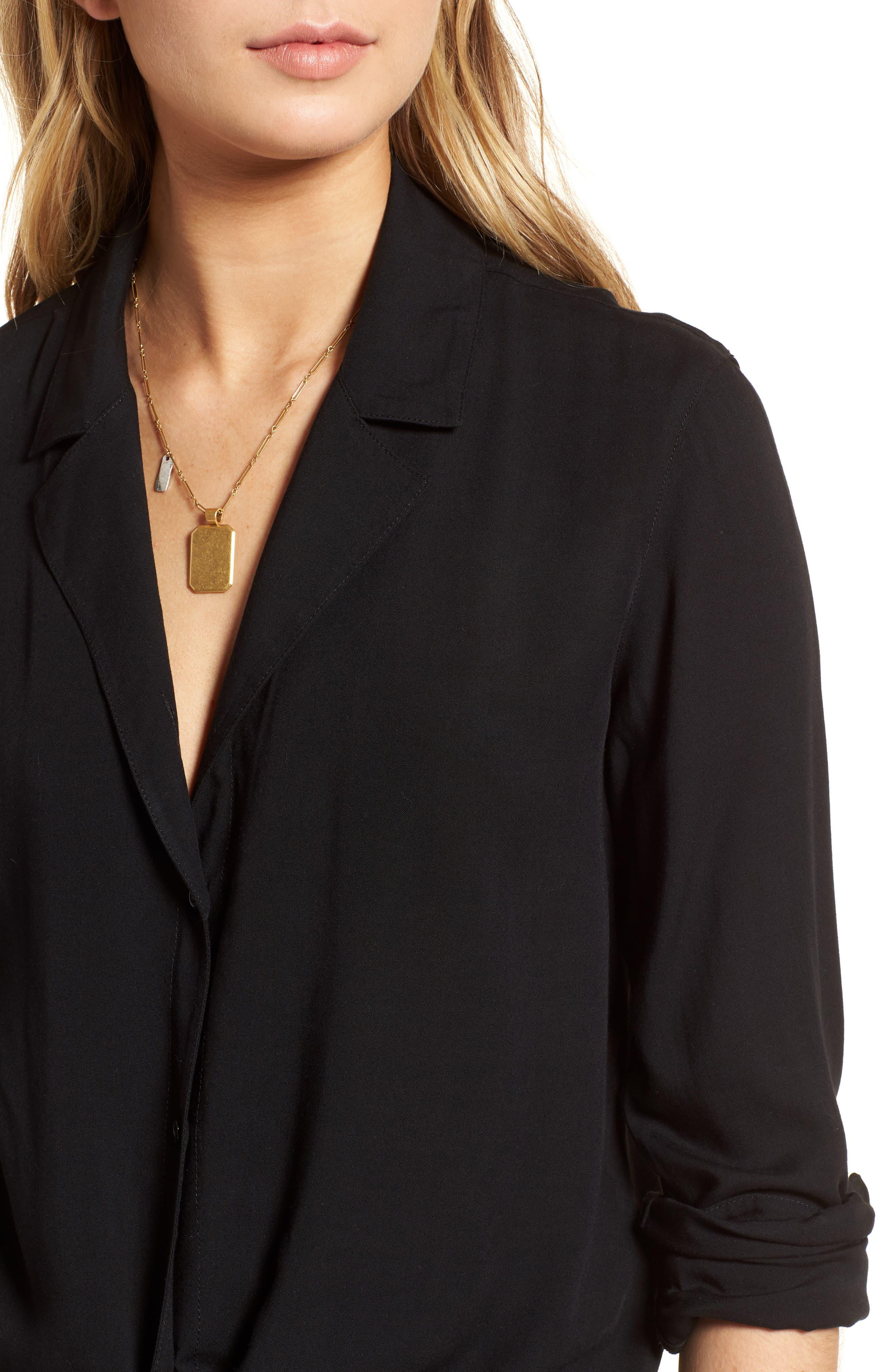 Tie Front Shirt,                             Alternate thumbnail 4, color,                             Black