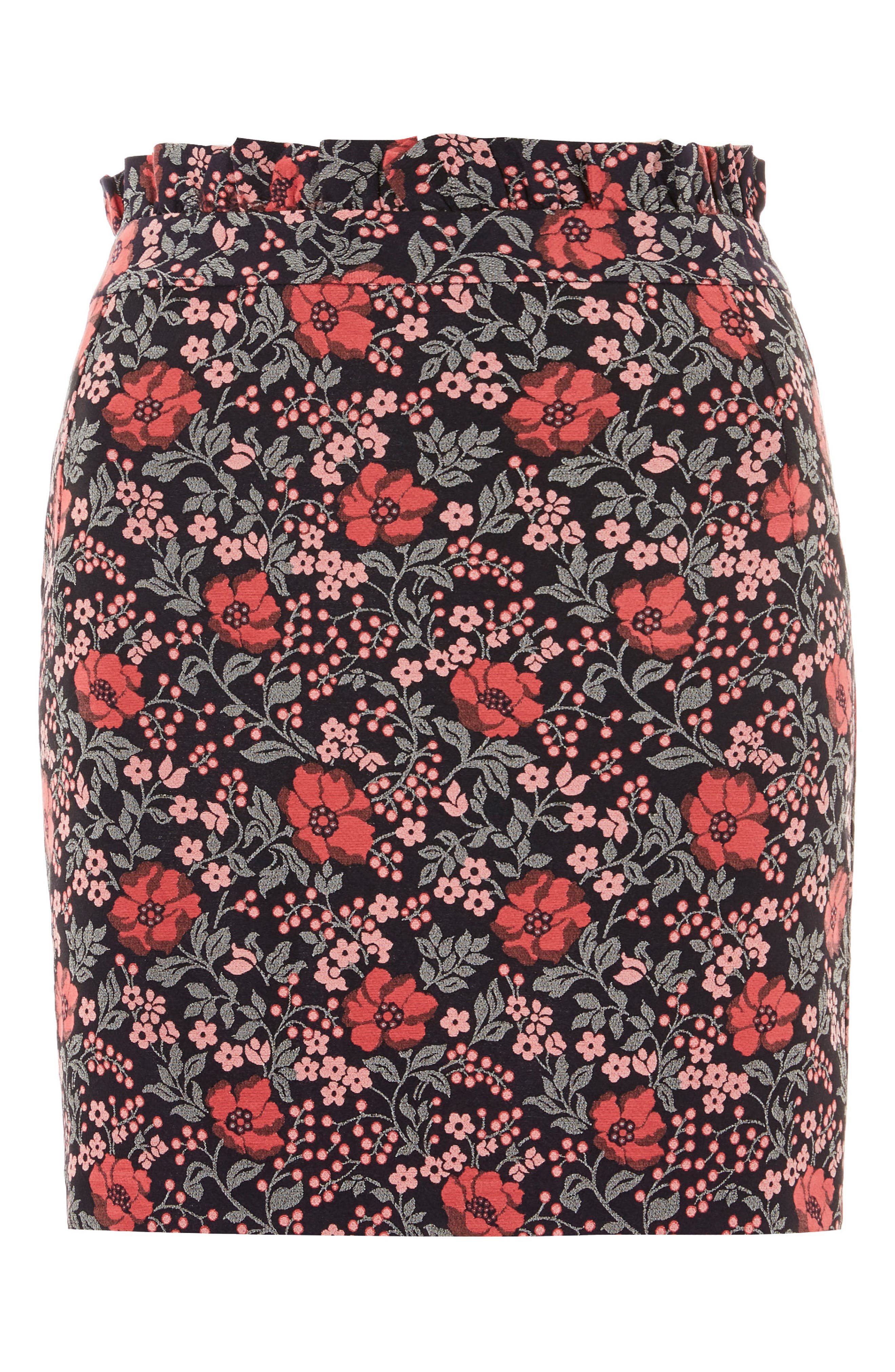 Poppy Jacquard Miniskirt,                             Alternate thumbnail 3, color,                             Pink Multi