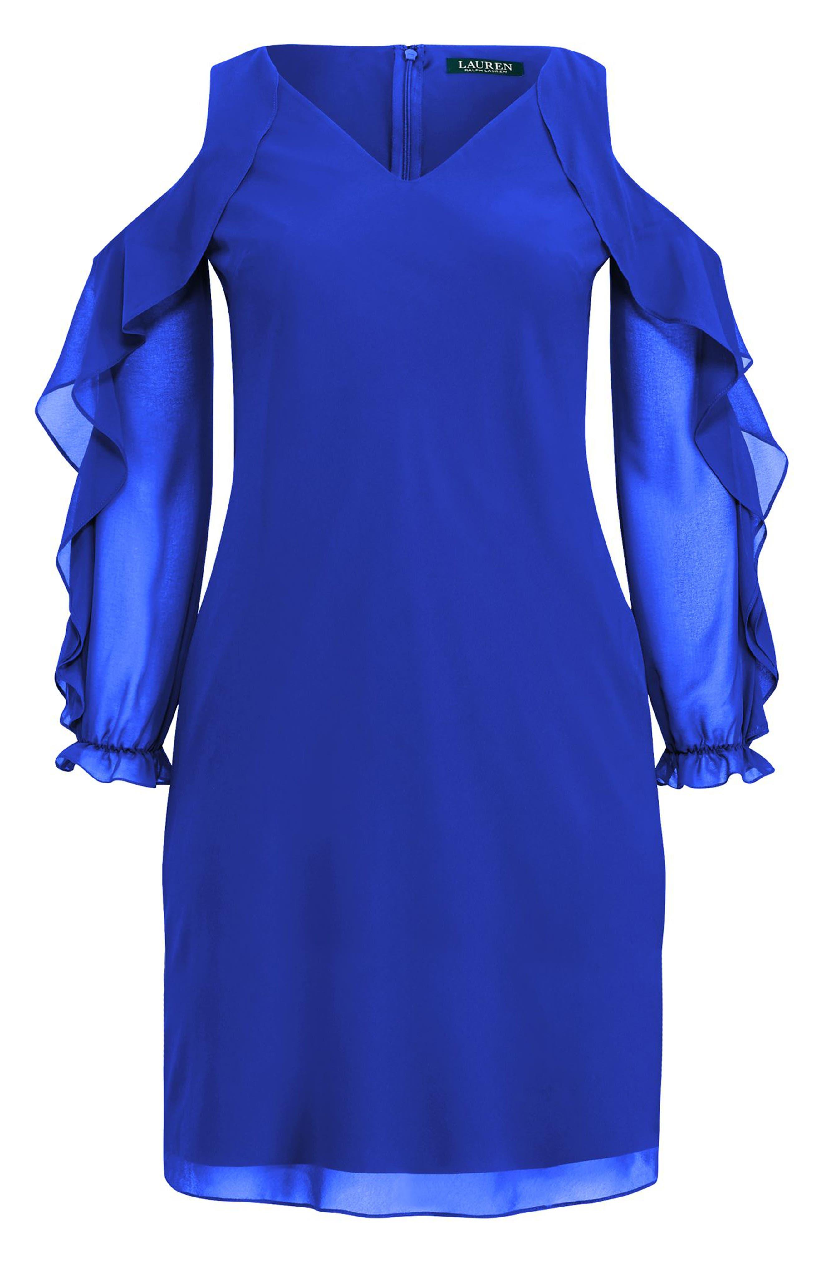 Paiva Cold Shoulder Minidress,                             Alternate thumbnail 7, color,                             Deep Lapis