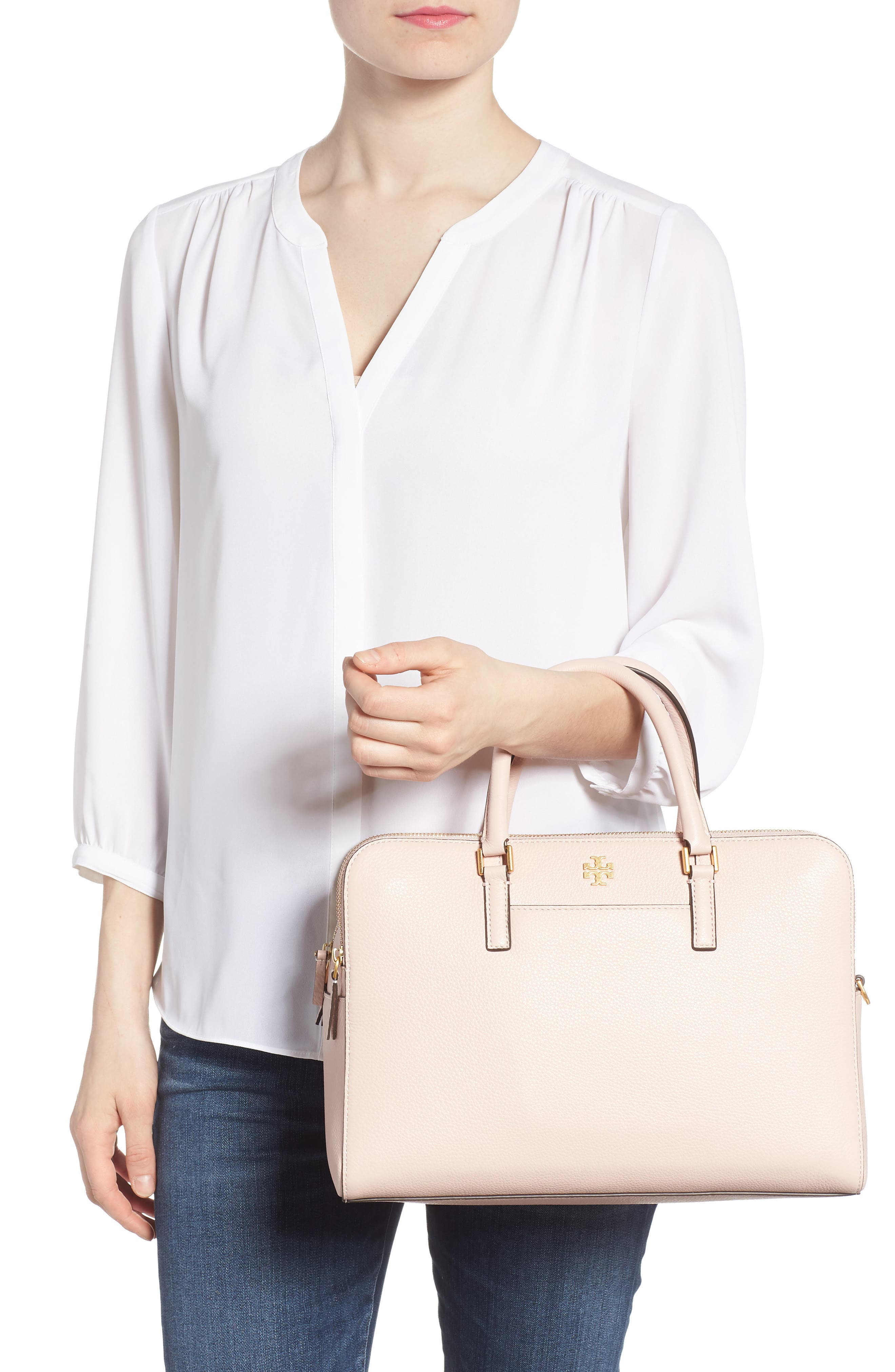 Georgia Double Zip Pebbled Leather Satchel,                             Alternate thumbnail 2, color,                             Shell Pink