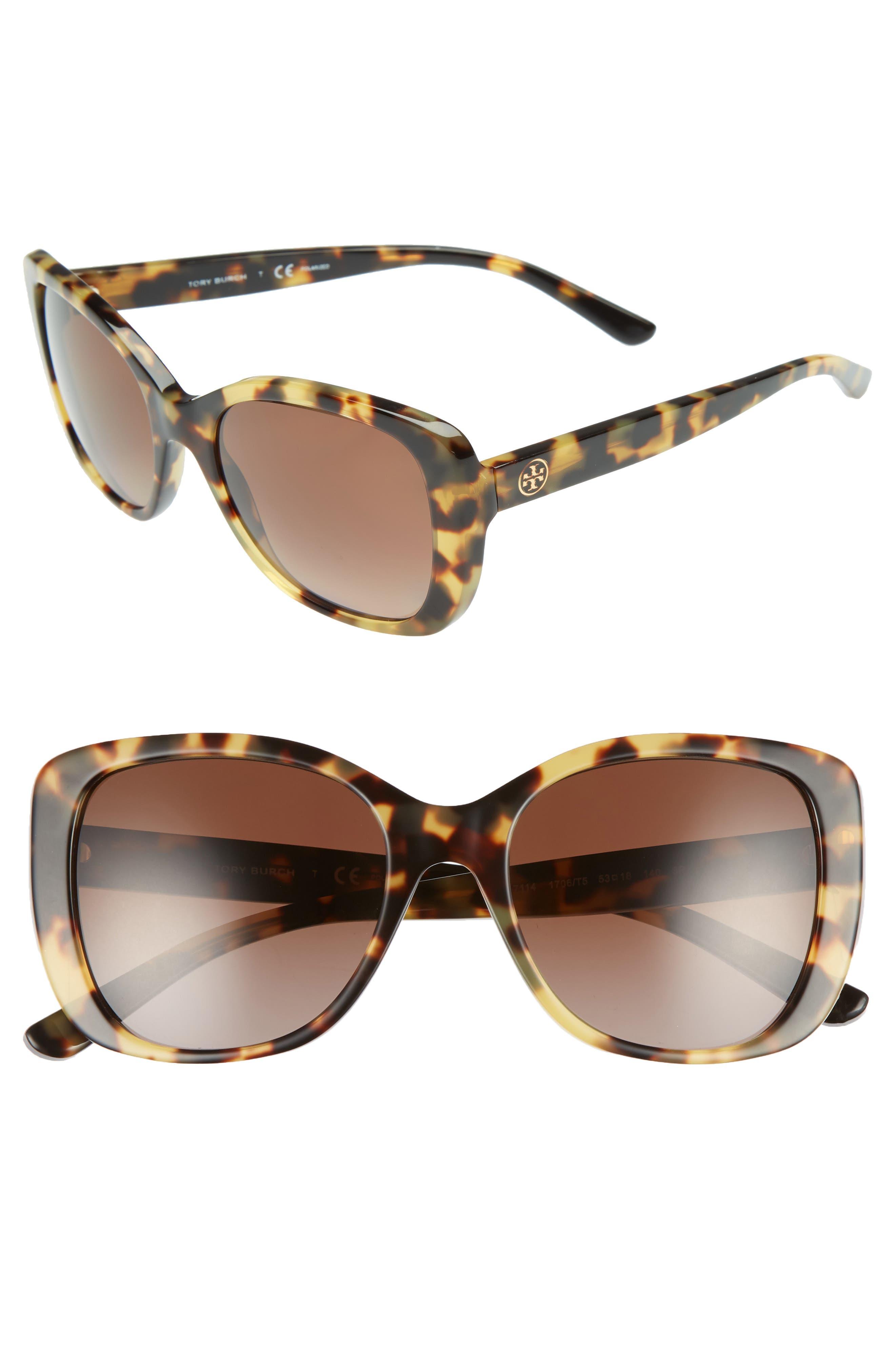 53mm Polarized Rectangle Sunglasses,                             Main thumbnail 1, color,                             Tokyo Tortoise Gradient