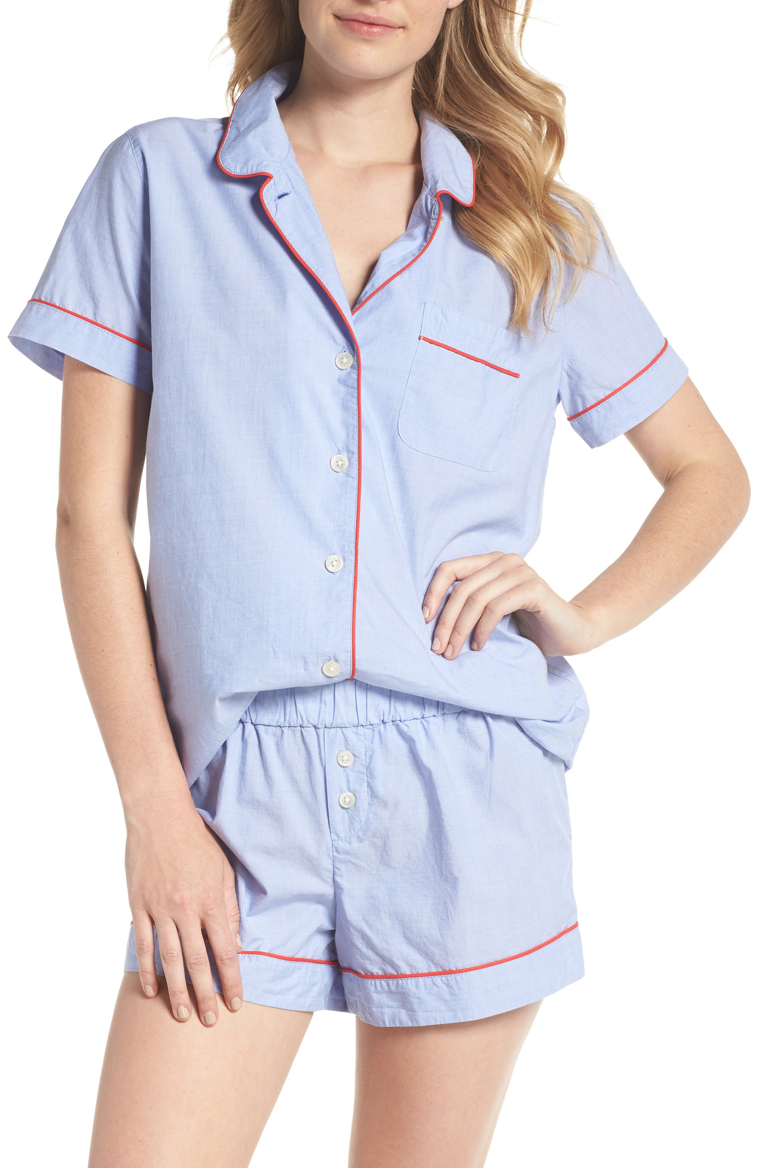 Tipped Pajama Set,                         Main,                         color, Hydrangea