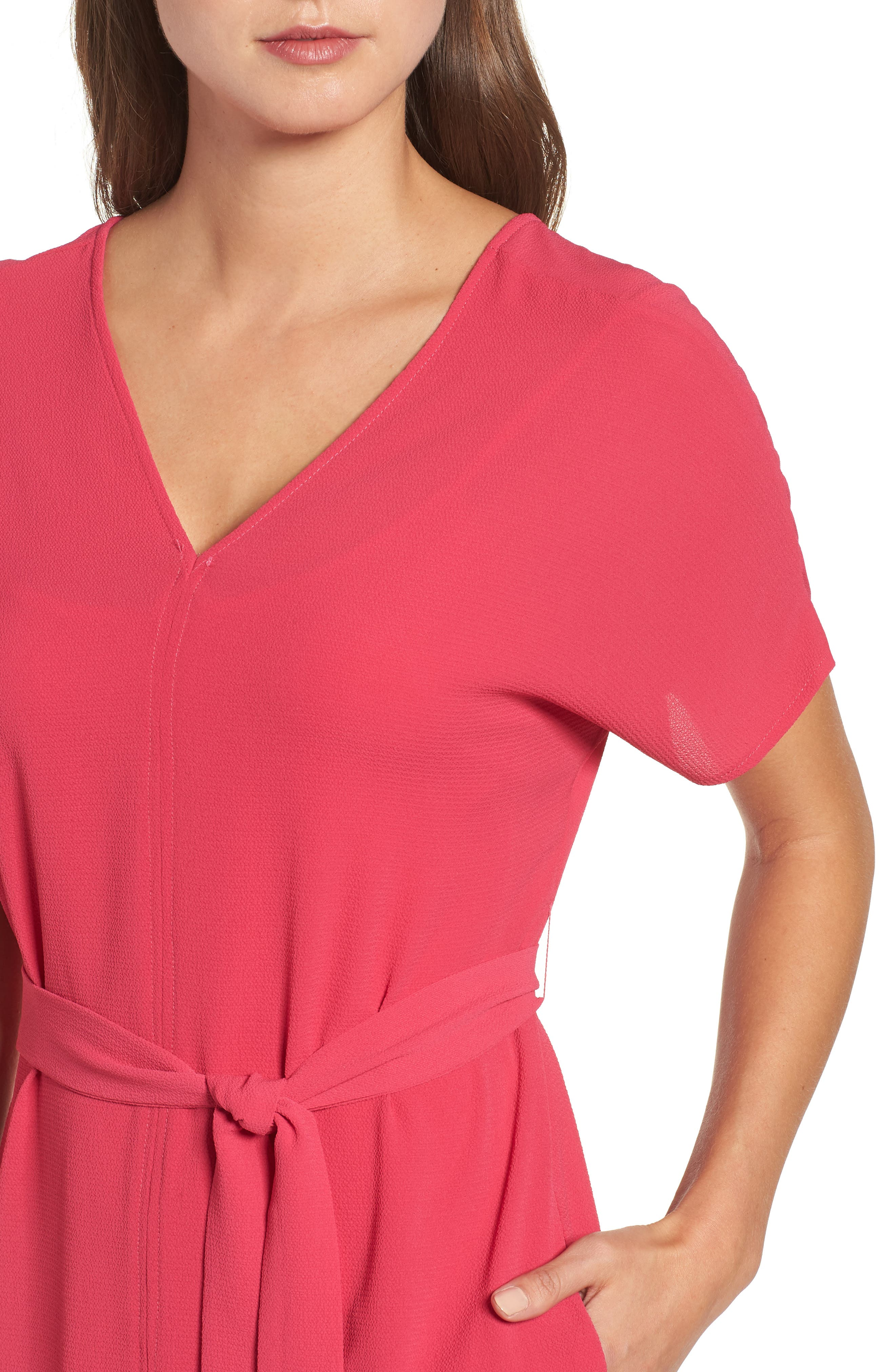 Stretch Crepe Dress,                             Alternate thumbnail 4, color,                             Bright Rose