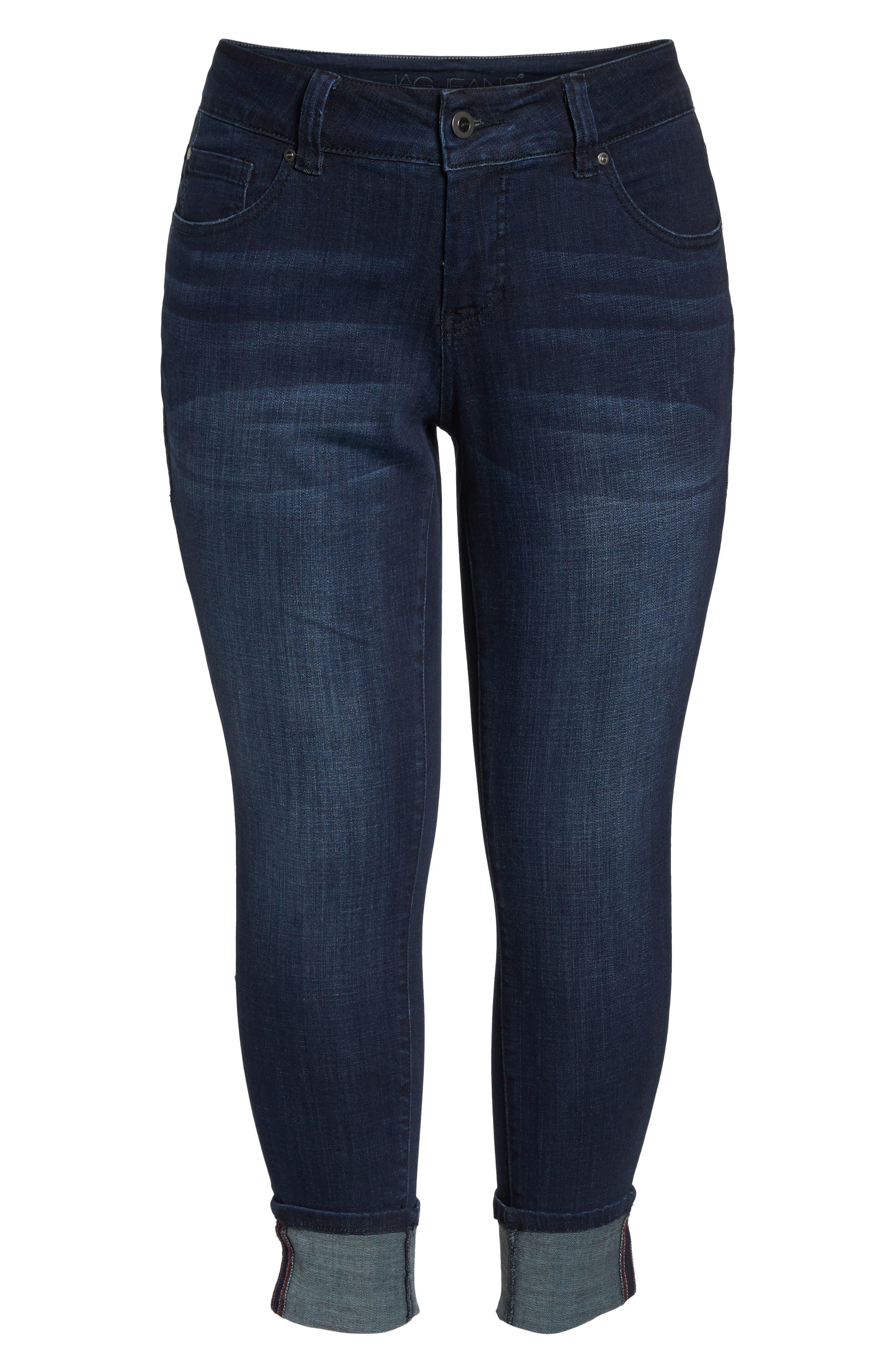 Maddie Cuff Skinny Jeans,                             Alternate thumbnail 7, color,                             Dark Indigo