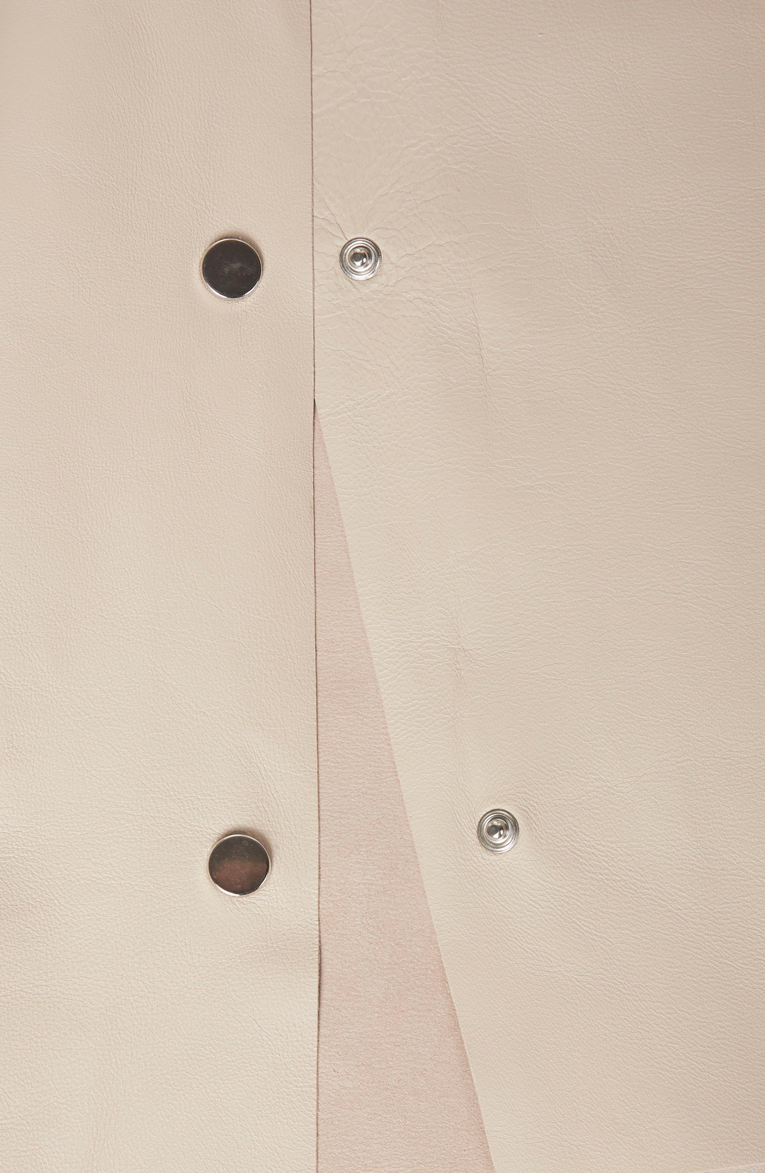Leather V-Neck Dress,                             Alternate thumbnail 6, color,                             Cream