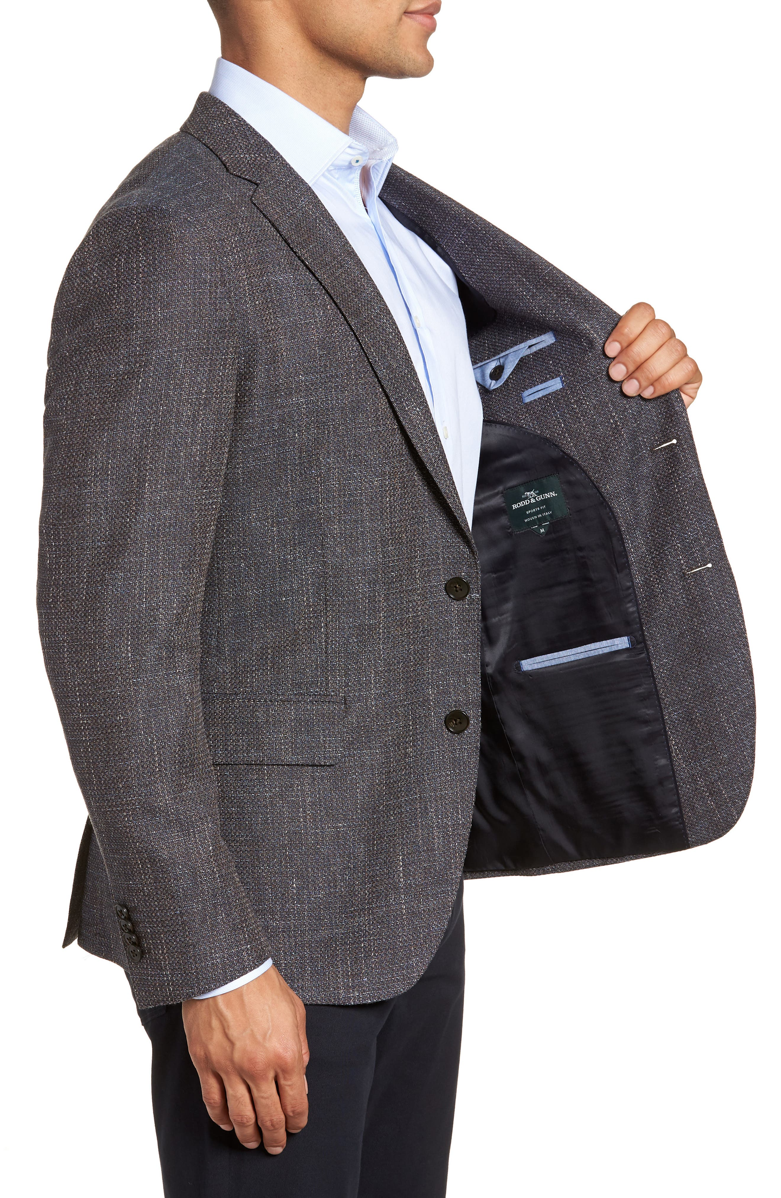Five Bridges Slim Fit Tweed Sport Coat,                             Alternate thumbnail 3, color,                             Sepia
