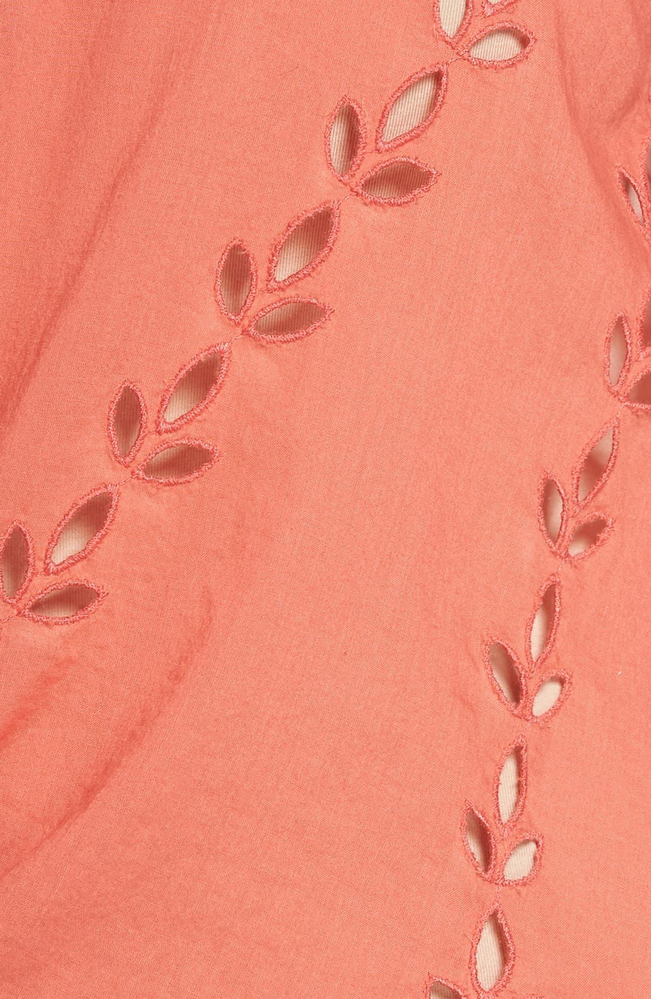 Alternate Image 5  - Lucky Brand Eyelet Tie Hem Peasant Blouse (Plus Size)