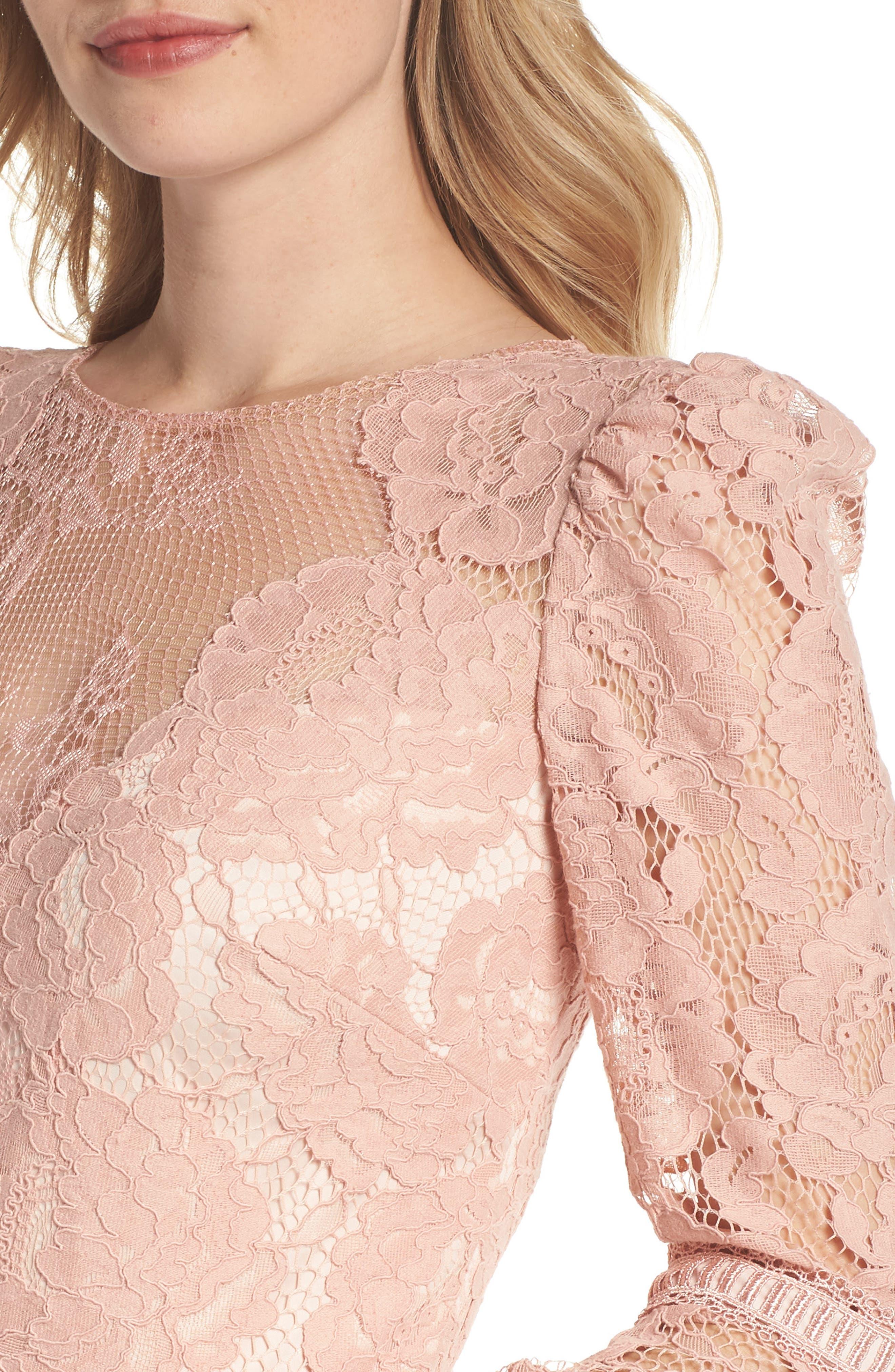 Lace Bell Sleeve Dress,                             Alternate thumbnail 4, color,                             Petal Bloom