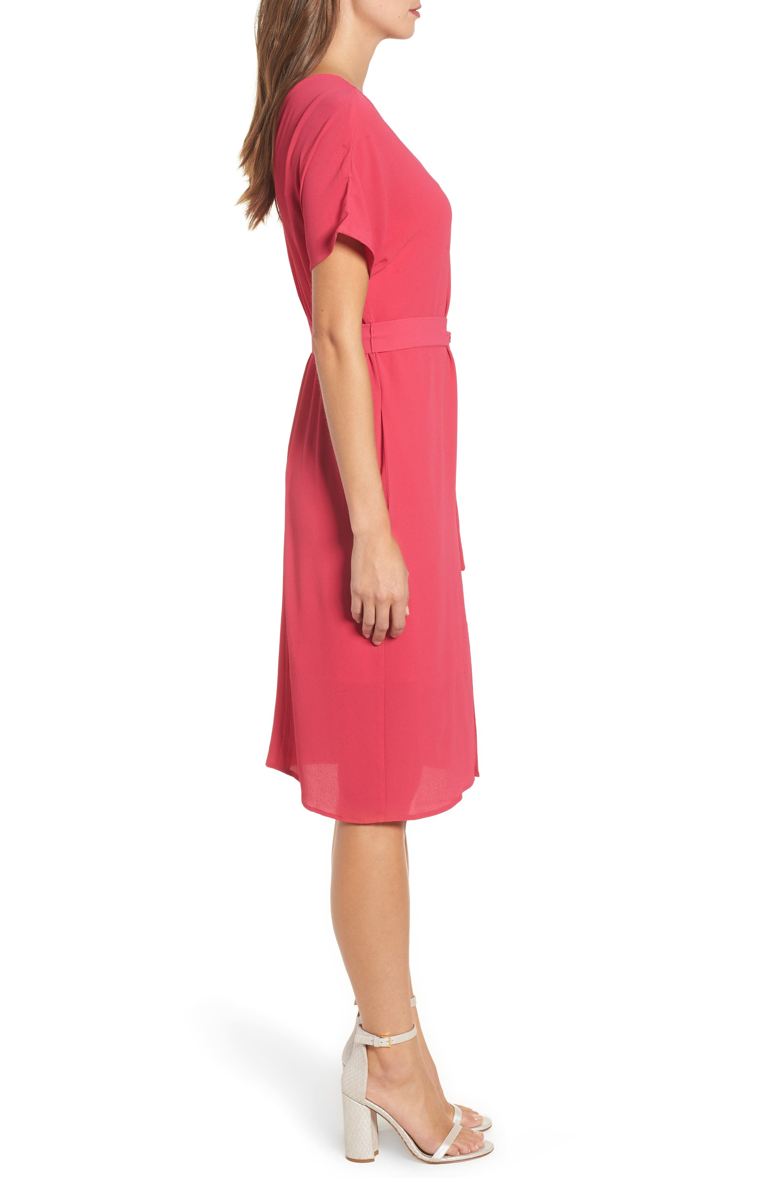 Stretch Crepe Dress,                             Alternate thumbnail 3, color,                             Bright Rose