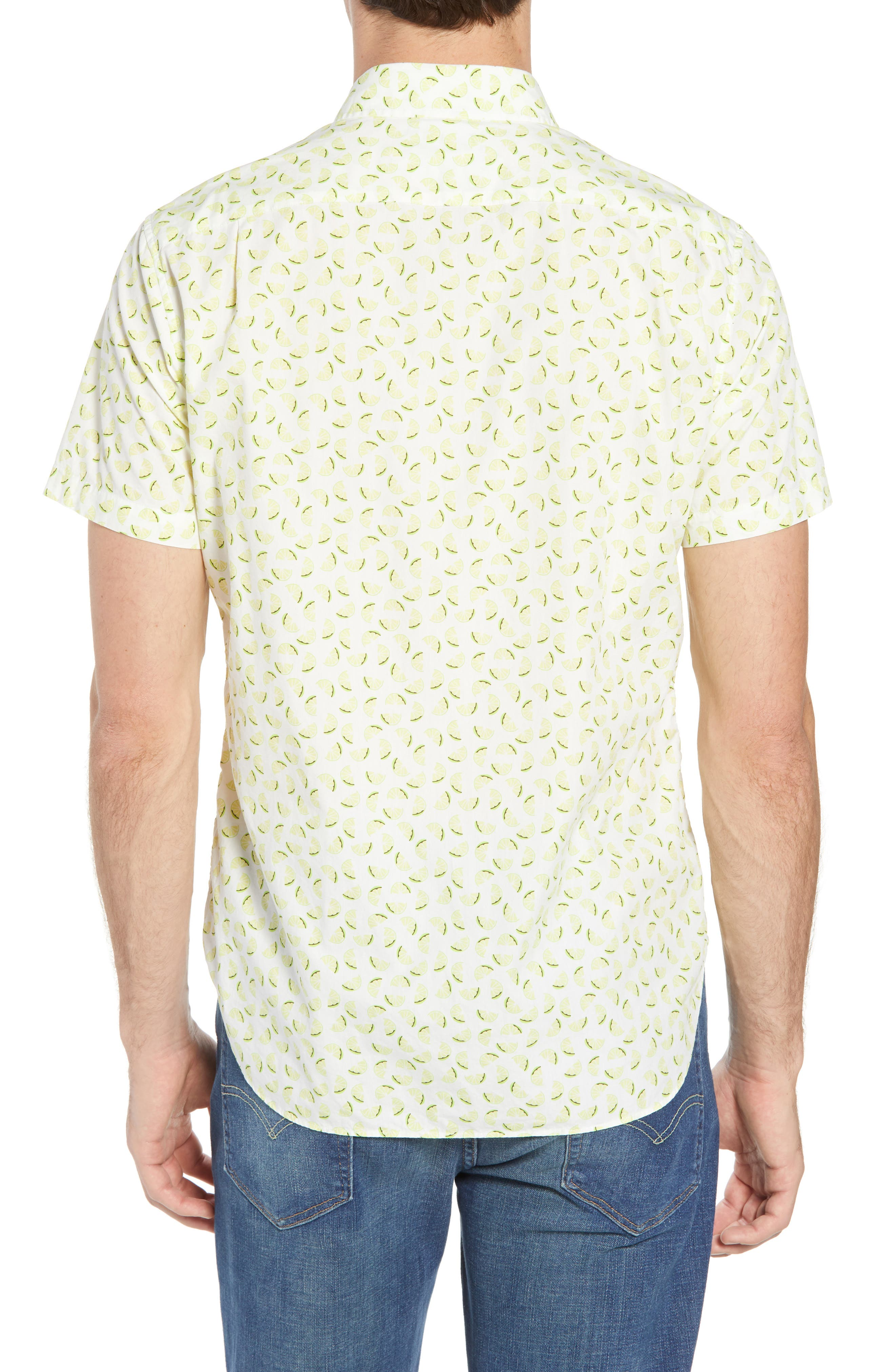 Slim Fit Citrus Print Sport Shirt,                             Alternate thumbnail 3, color,                             Lemon Toss - Acid Lime