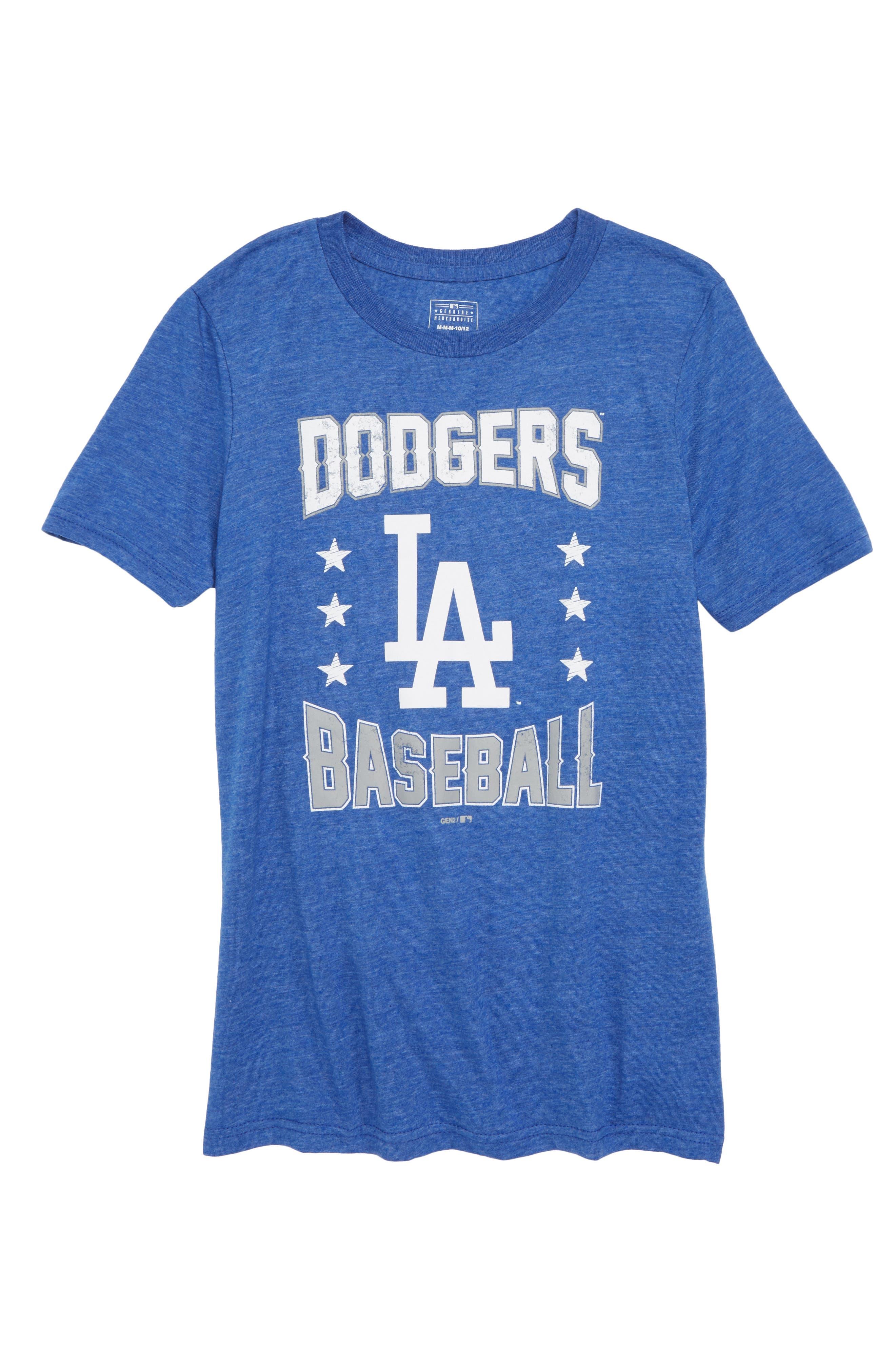 Los Angeles Dodgers Triple Play T-Shirt,                         Main,                         color, Royal