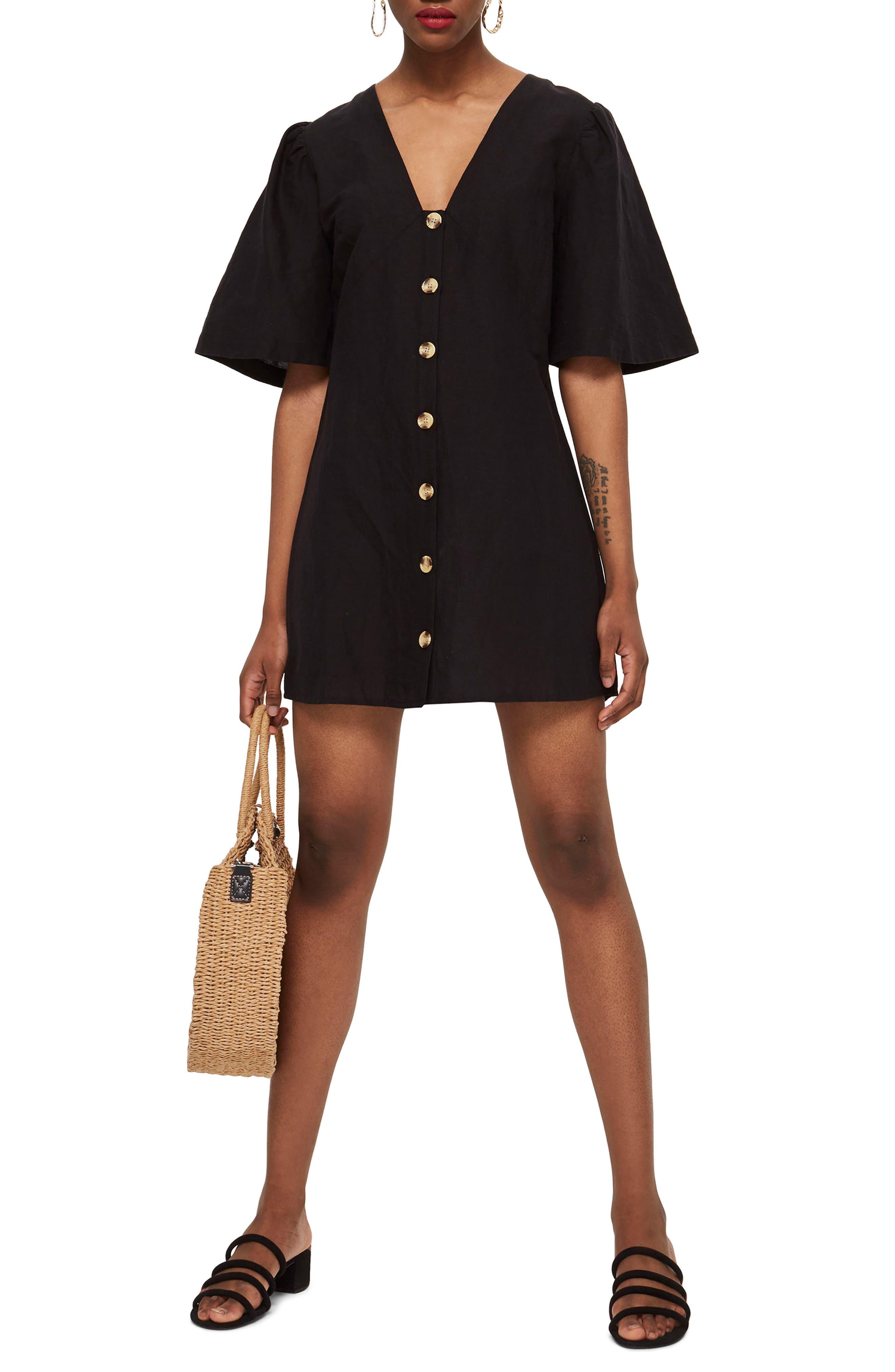Angel Sleeve Shift Dress,                         Main,                         color, Black Multi