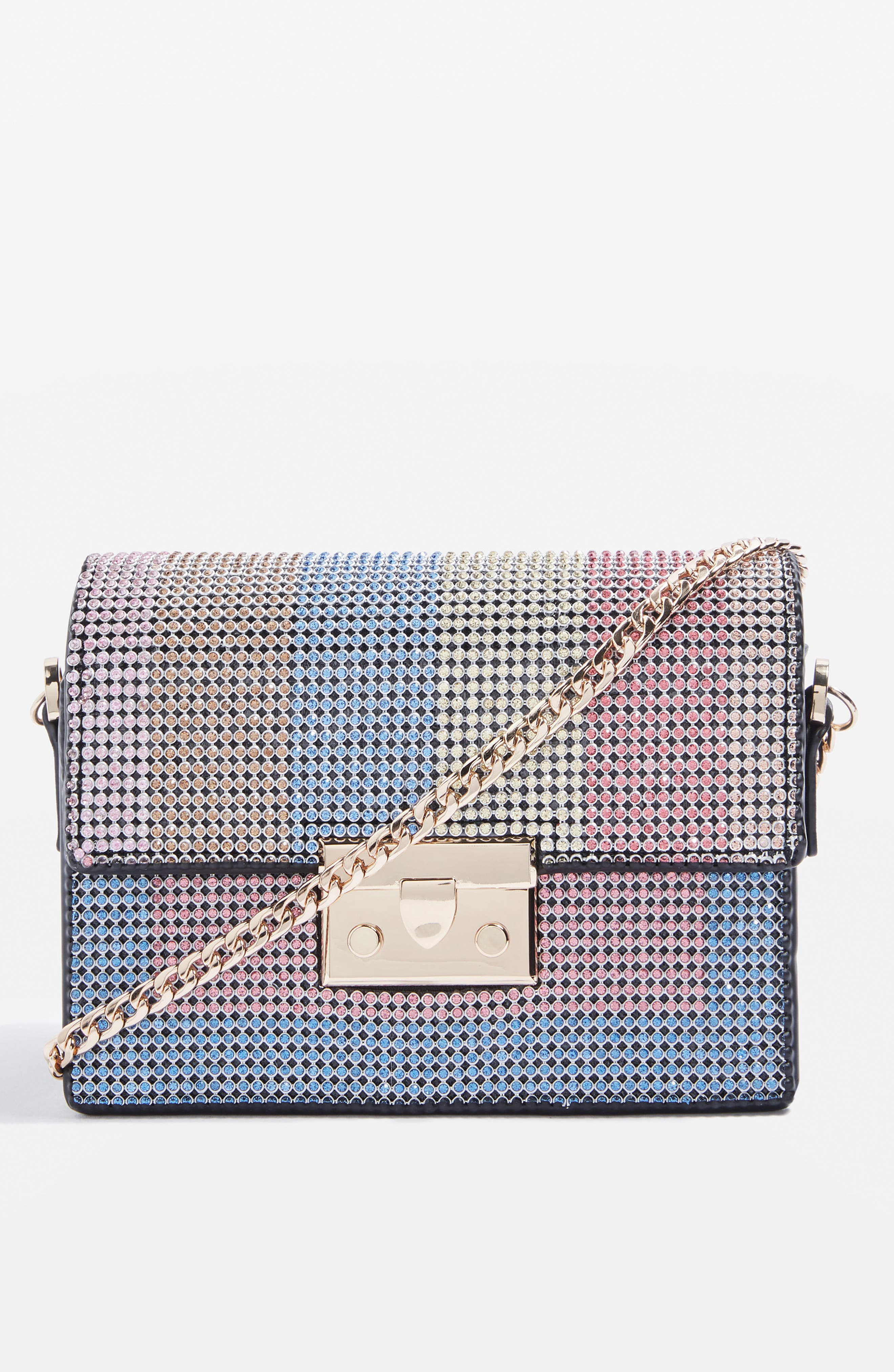 Rosie Diamante Rainbow Crossbody Bag,                             Alternate thumbnail 8, color,                             Black Multi