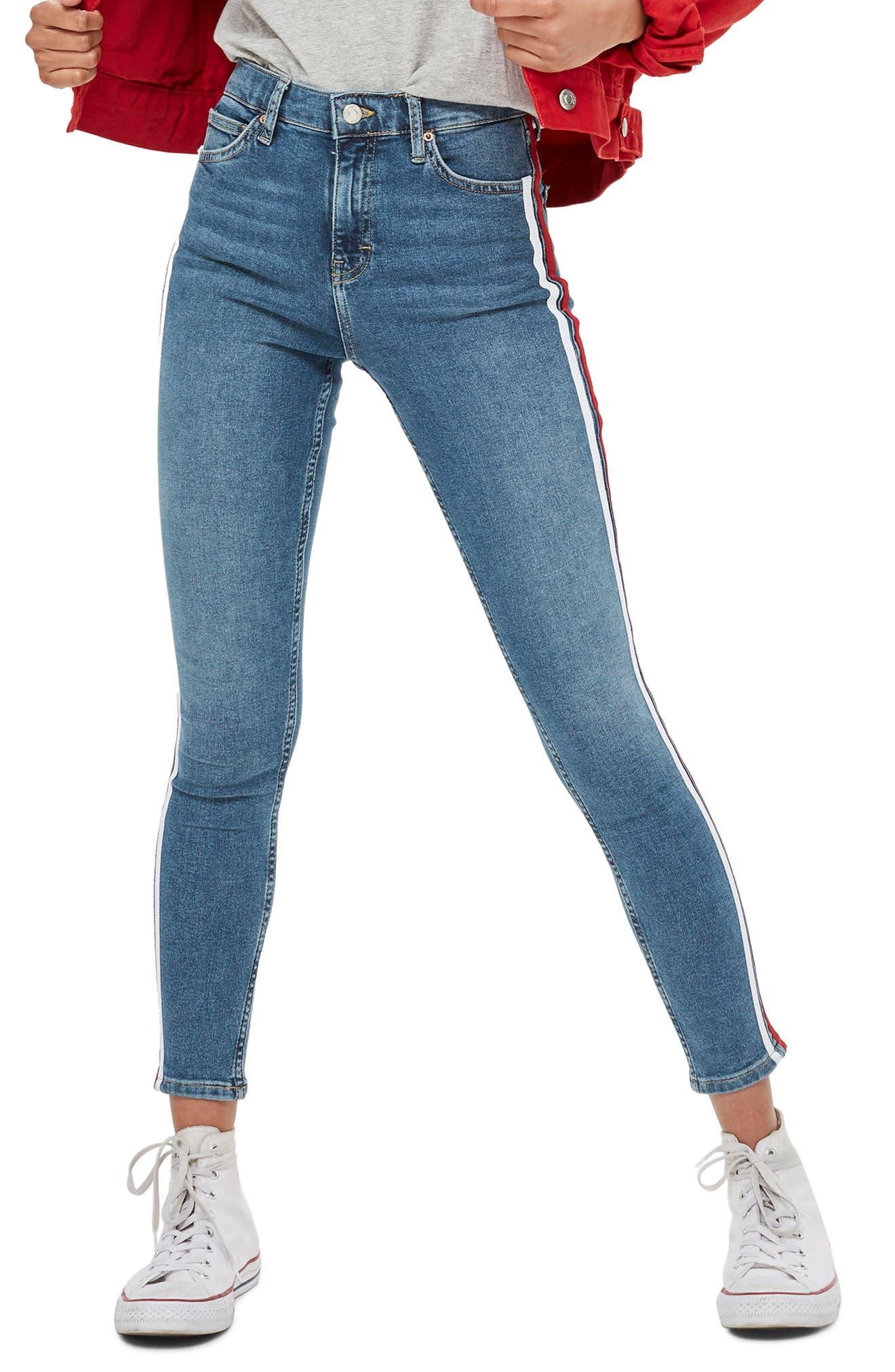 Jamie Side Stripe Jeans,                         Main,                         color, Mid Denim Multi