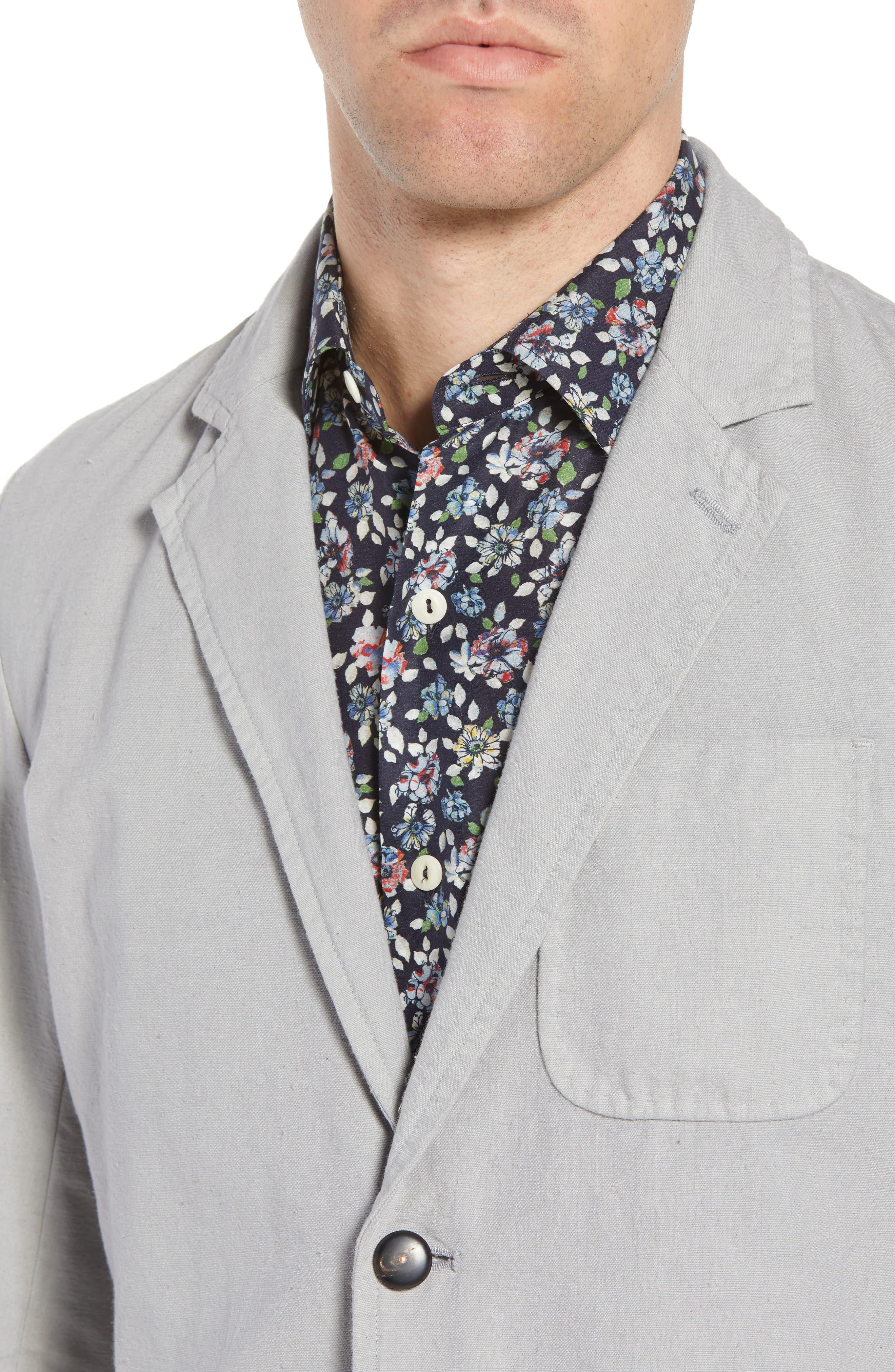 Archie Slim Fit Cotton Blazer,                             Alternate thumbnail 4, color,                             Grey