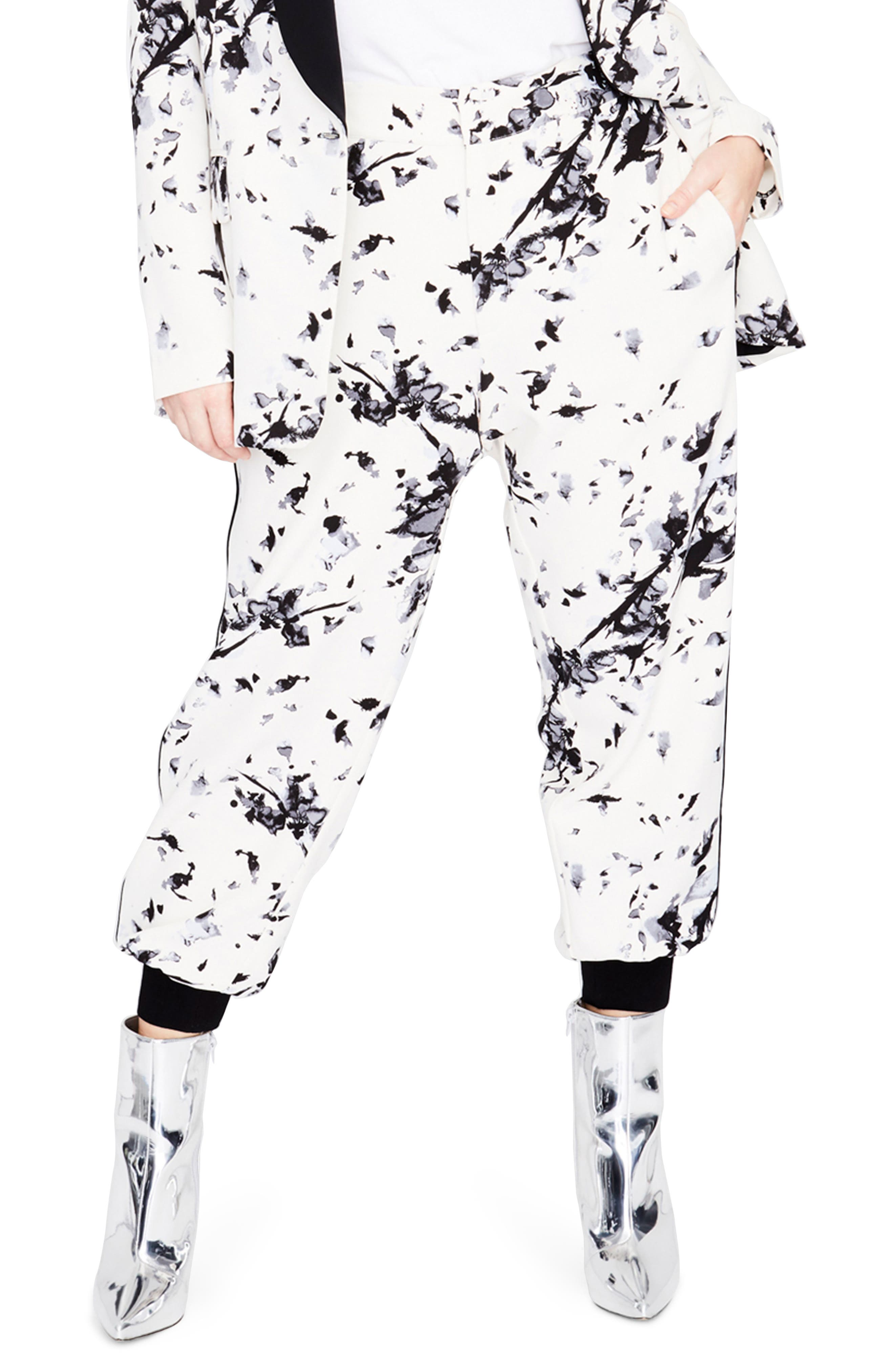 Floral Jogger Pants,                         Main,                         color, Ivory Black Combo