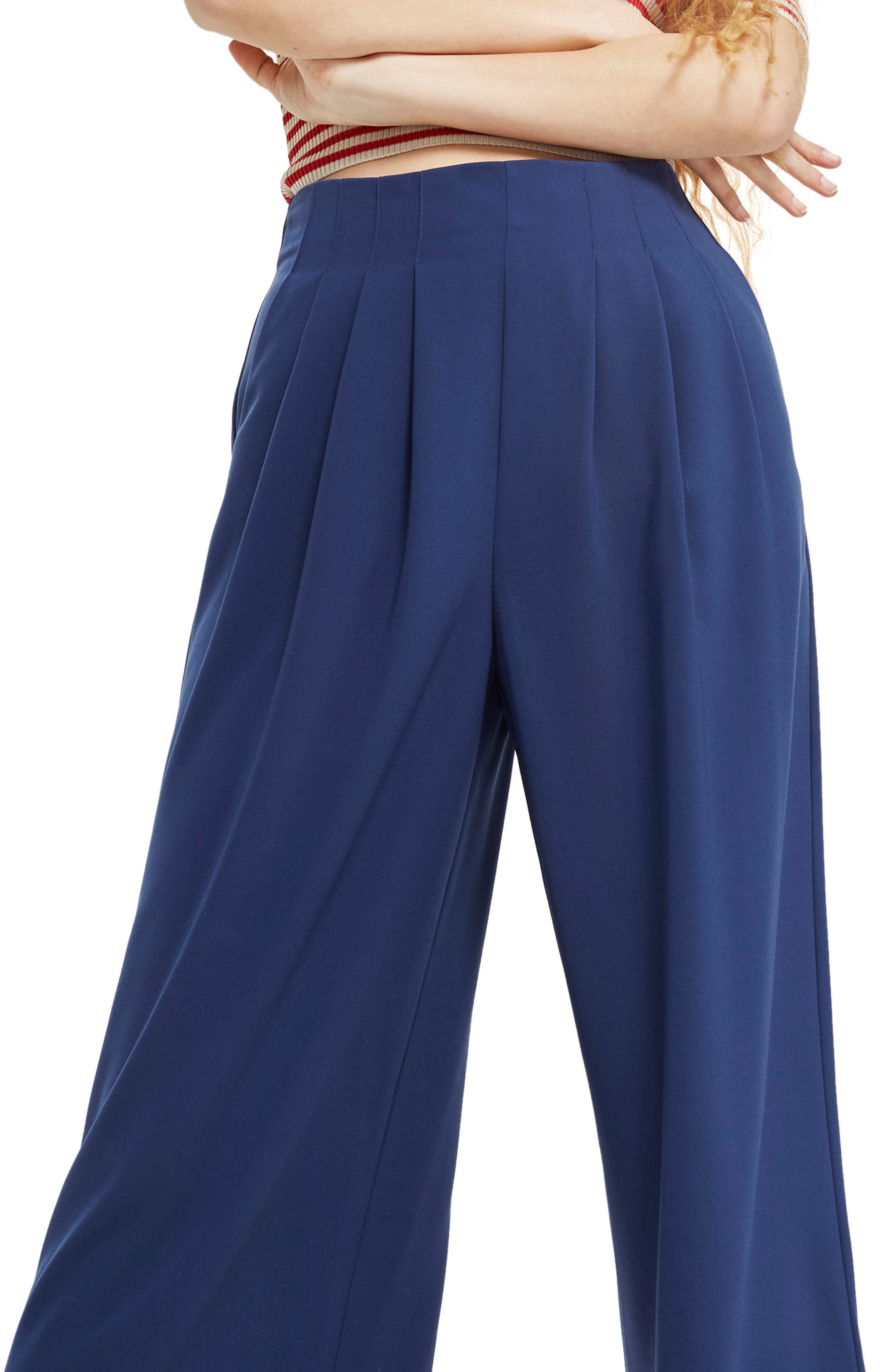 Ivy Crop Wide Leg Trousers,                             Alternate thumbnail 3, color,                             Navy Blue