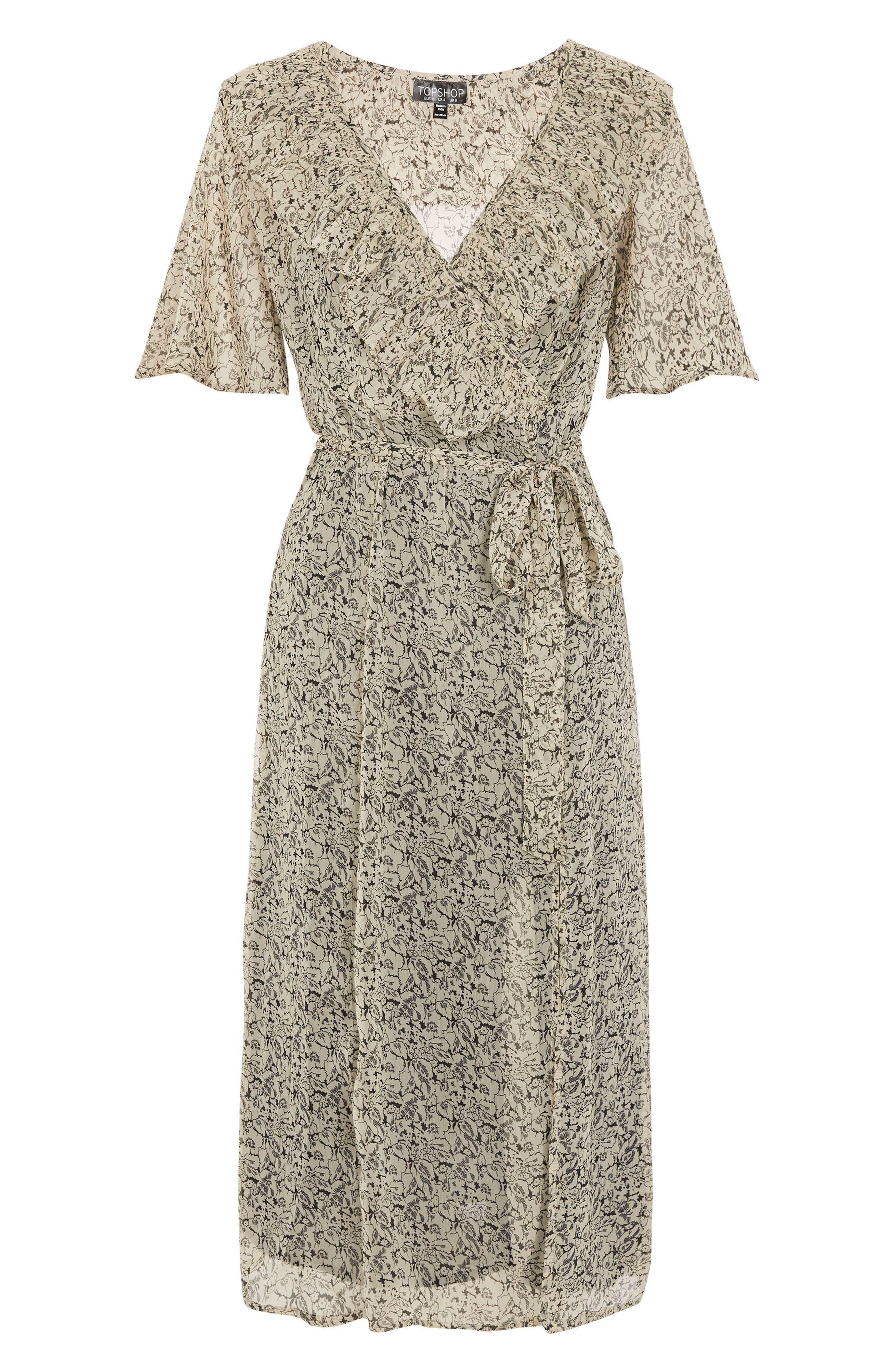 Floral Angel Sleeve Dress,                             Alternate thumbnail 4, color,                             Beige Multi