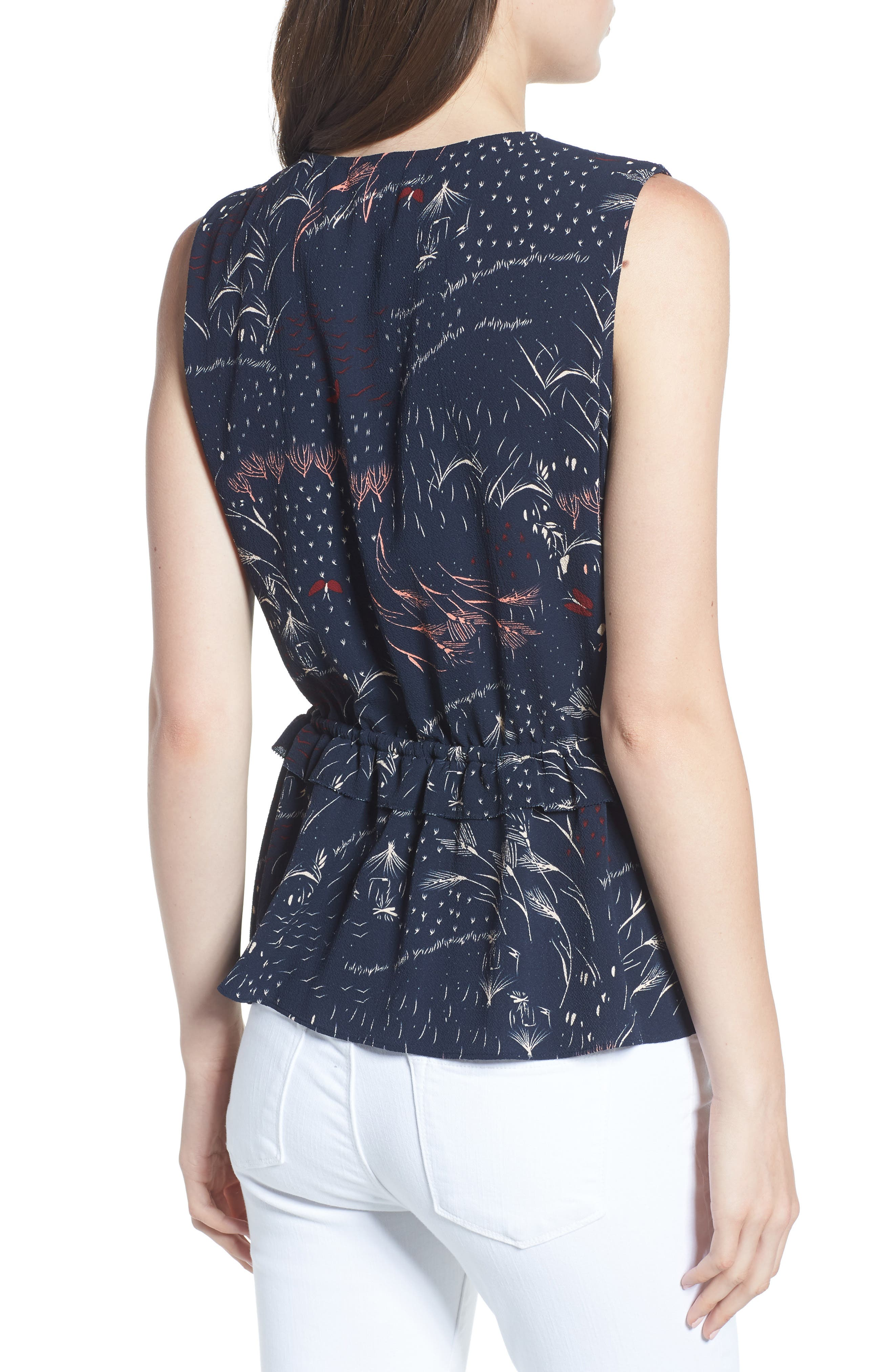 Pleated Tank,                             Alternate thumbnail 2, color,                             Navy Blazer Feather Grass