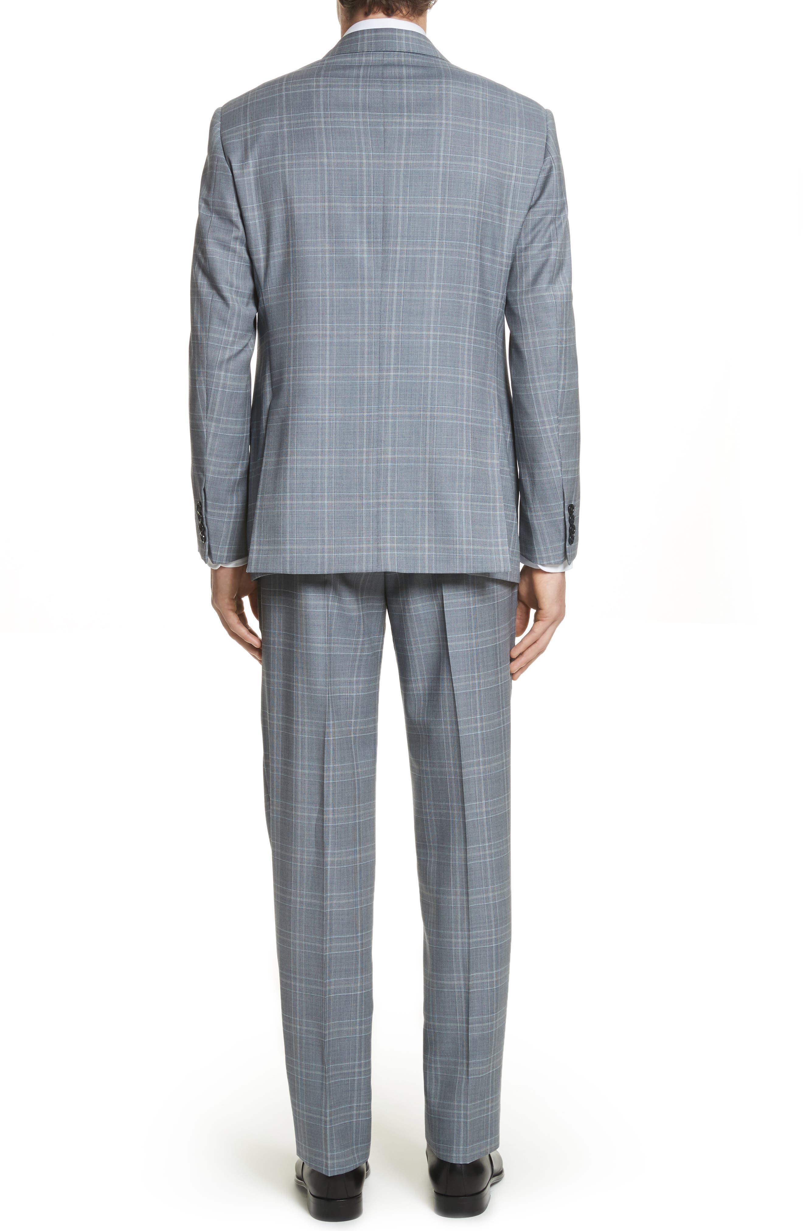 G-Line Trim Fit Plaid Wool Suit,                             Alternate thumbnail 2, color,                             Grey