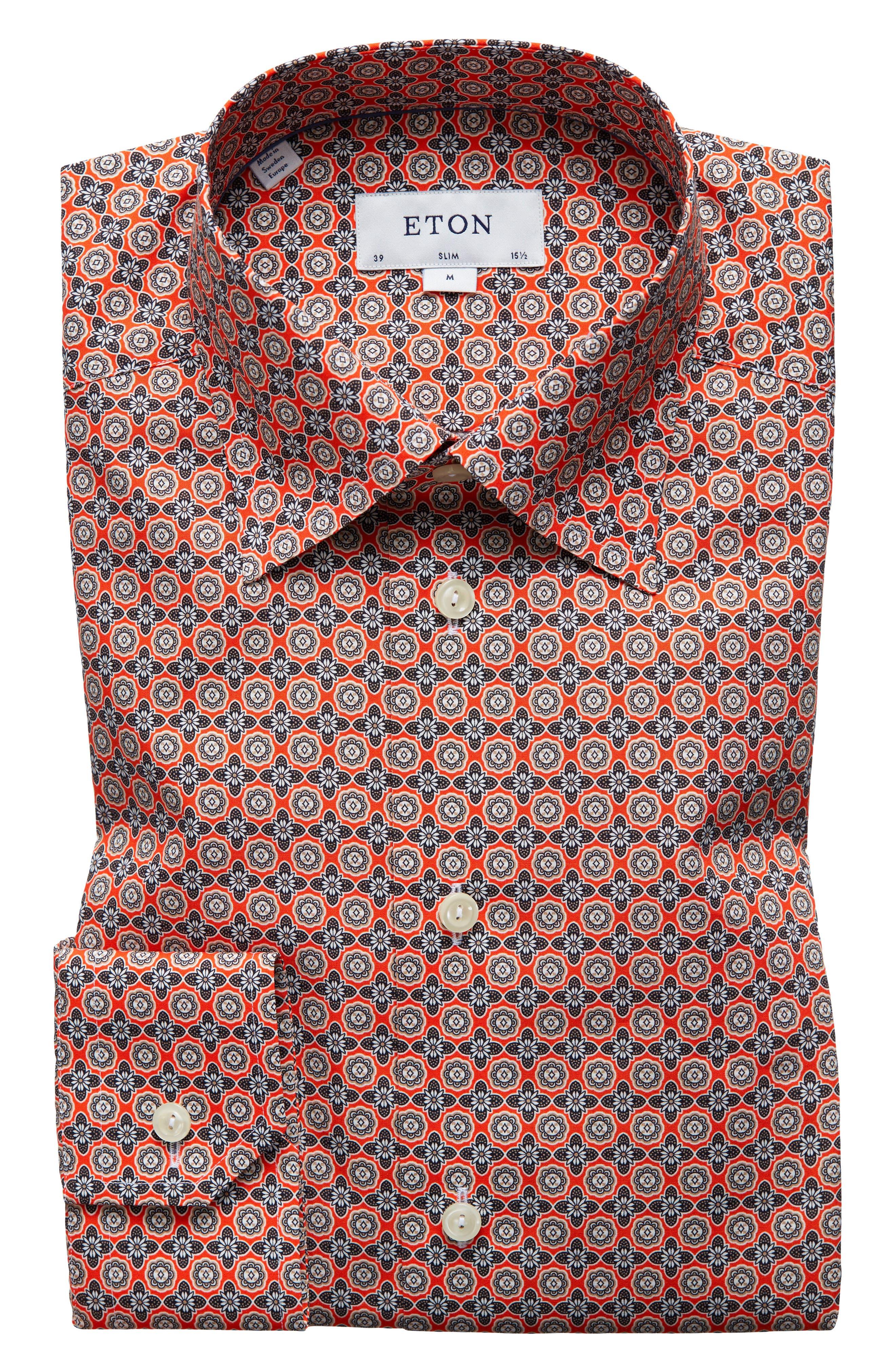 Slim Fit Floral Geometric Dress Shirt,                         Main,                         color, Yellow/ Orange
