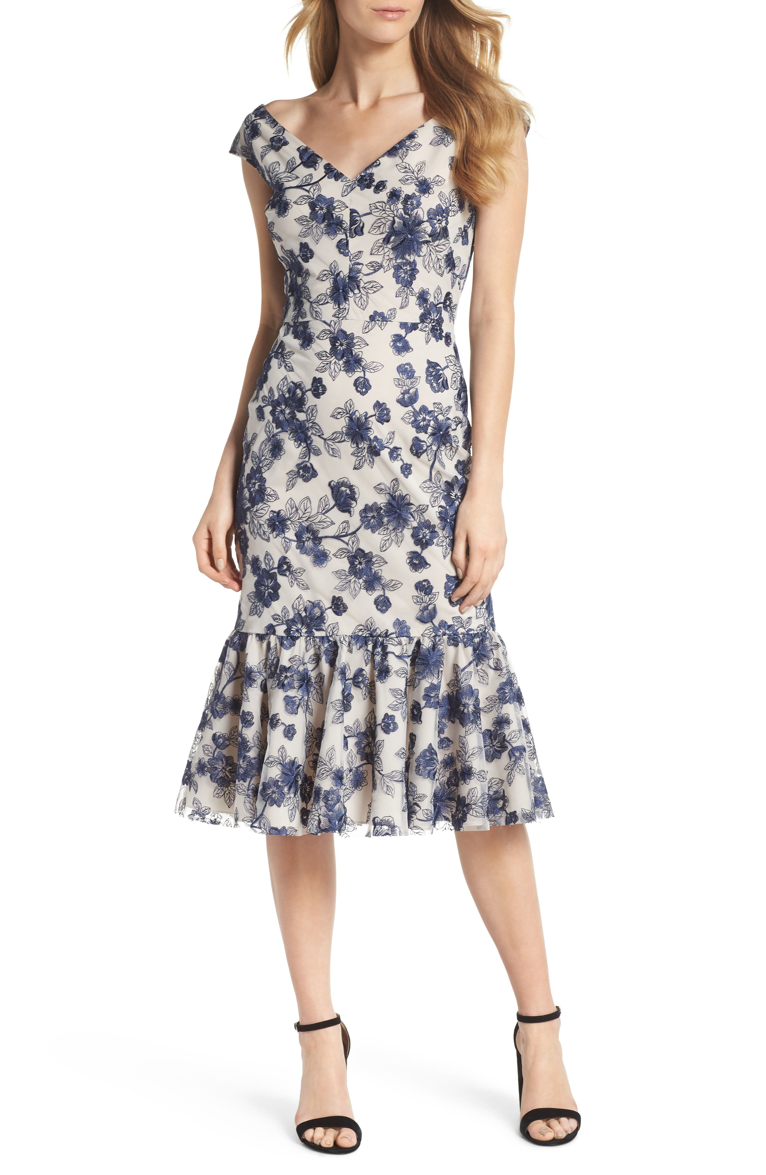 Rosemary Floral Embroidered Midi Dress,                         Main,                         color, Navy Night