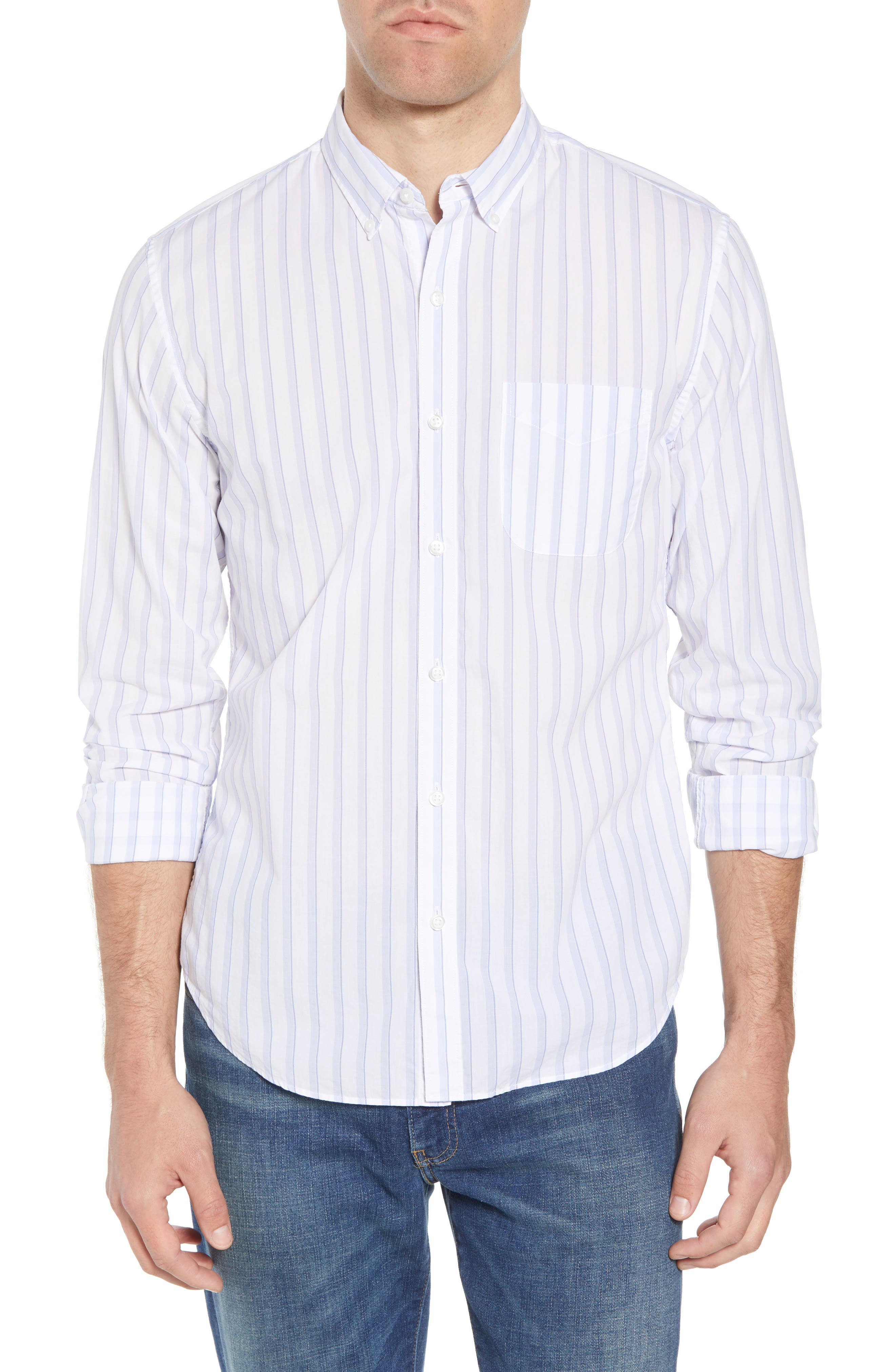 Summerweight Slim Fit Stripe Sport Shirt,                             Main thumbnail 1, color,                             Clear Tide Stripe - Della Blue