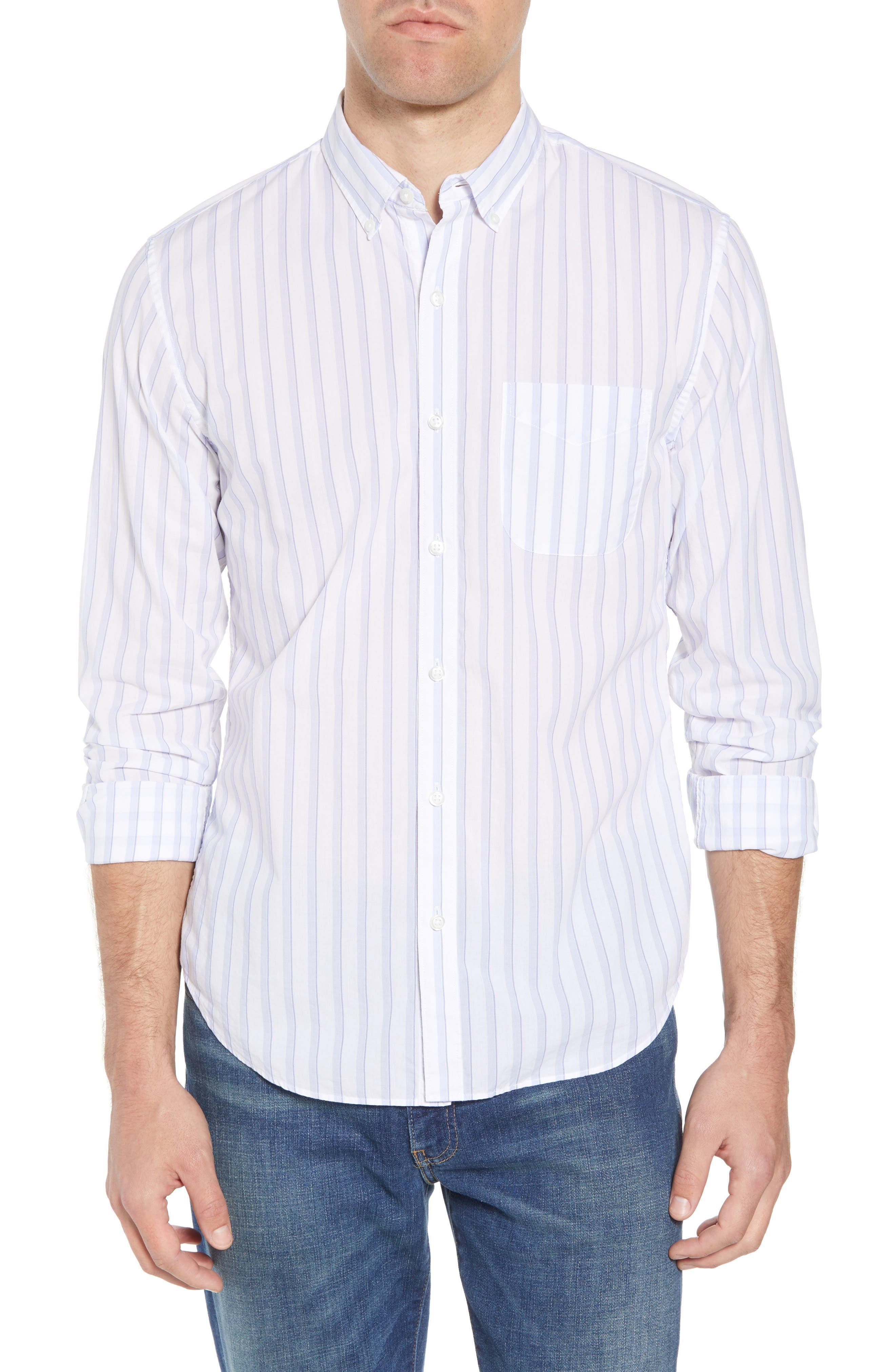 Summerweight Slim Fit Stripe Sport Shirt,                         Main,                         color, Clear Tide Stripe - Della Blue