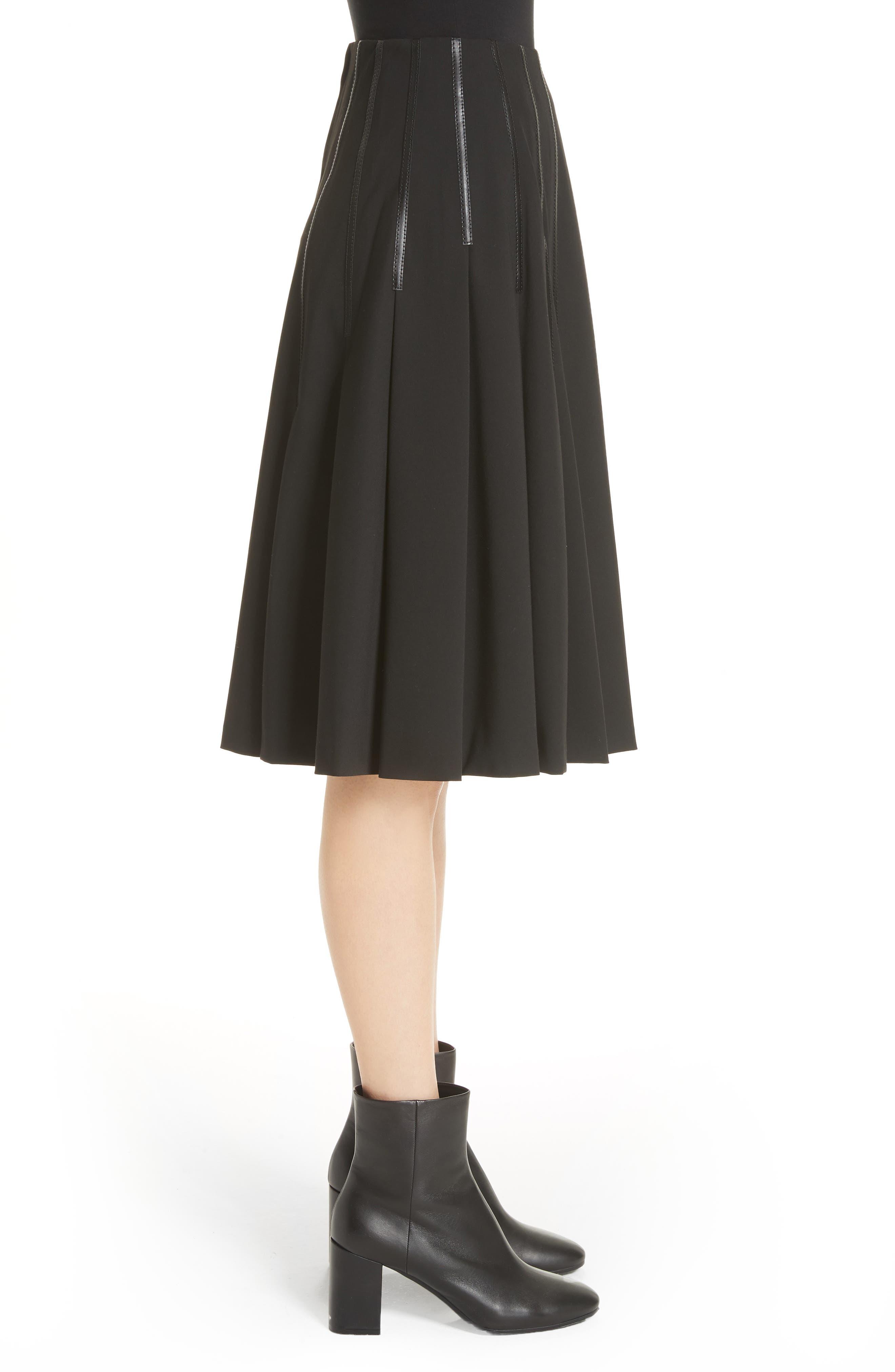 Pleated Faux Leather Trim Skirt,                             Alternate thumbnail 3, color,                             Black