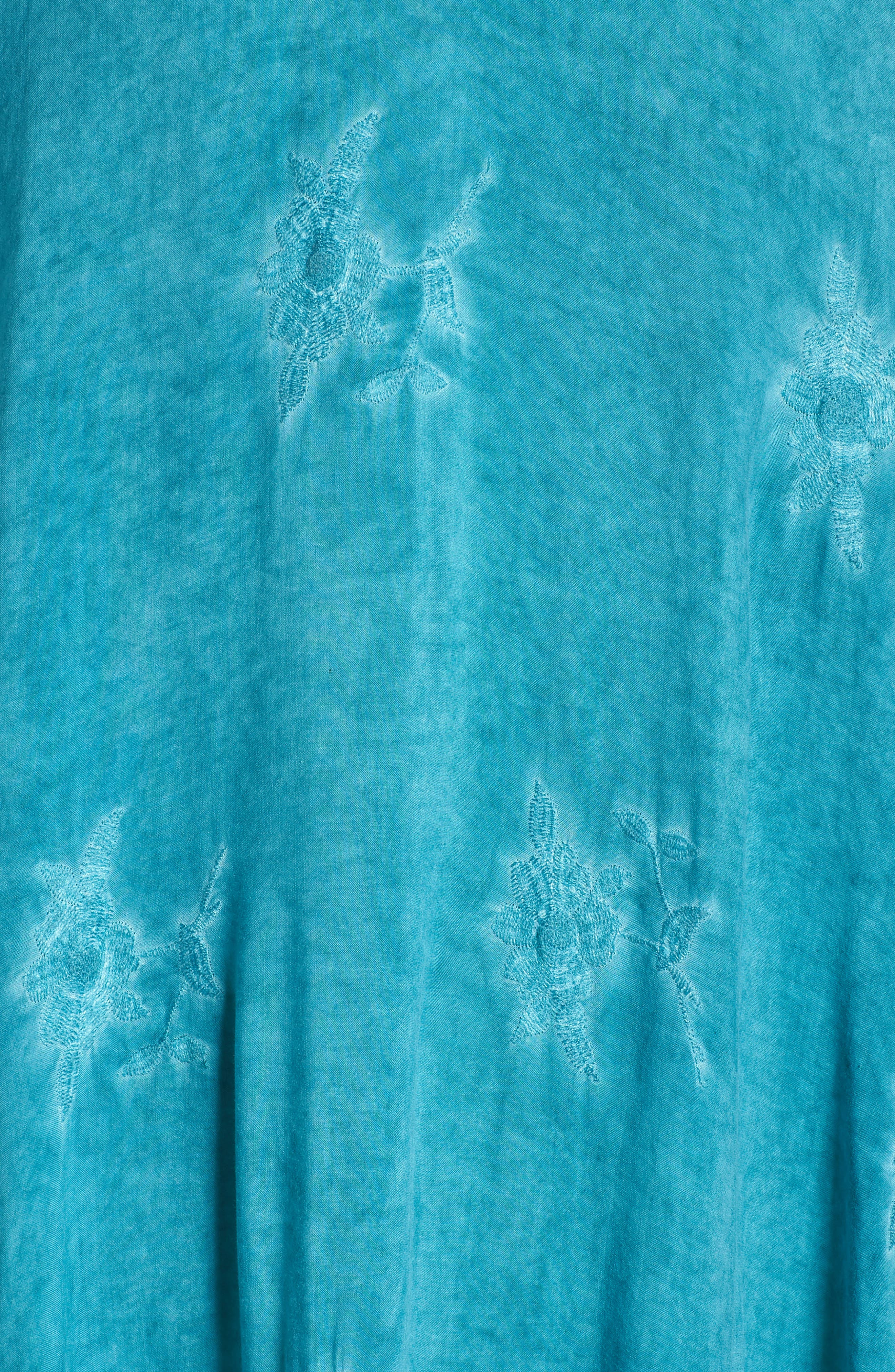 Jaipur Embroidered Voile Caftan,                             Alternate thumbnail 6, color,                             Turquoise