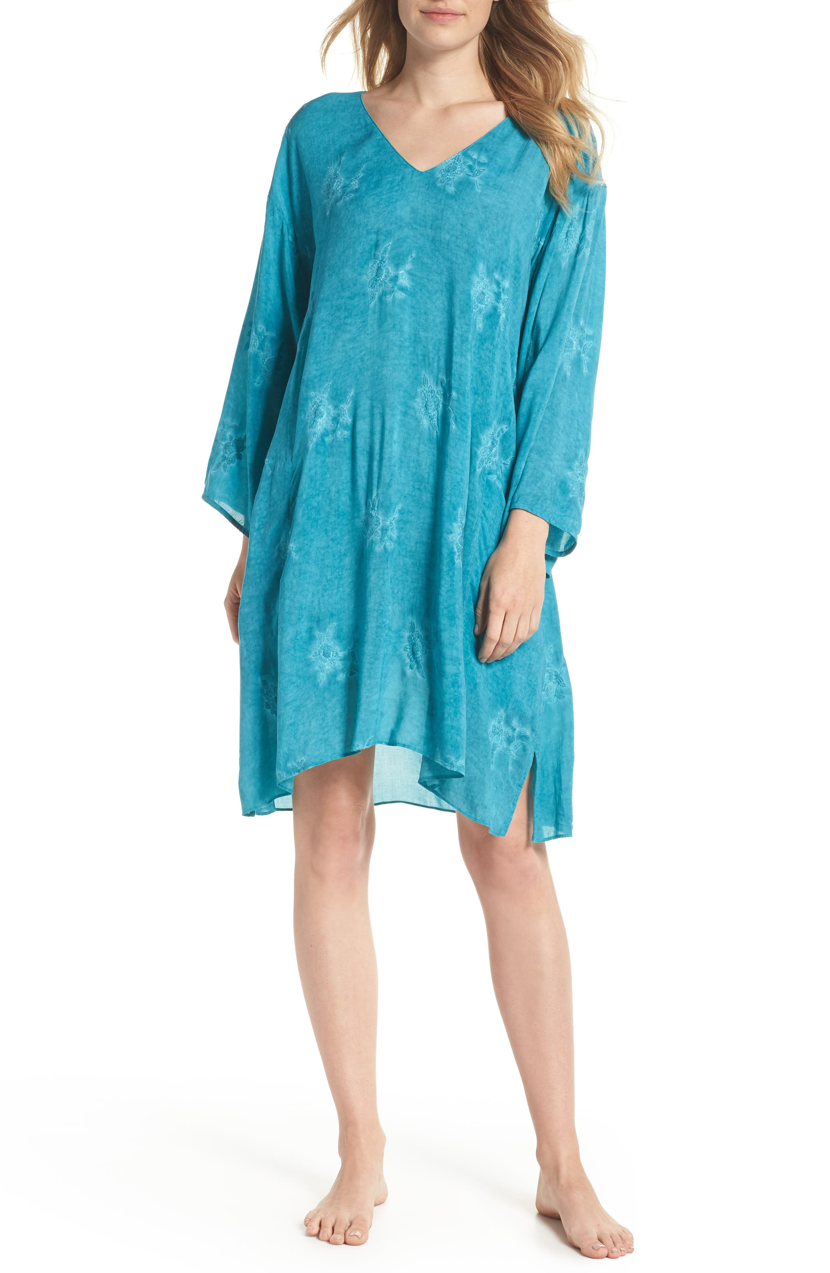 Jaipur Embroidered Voile Caftan,                             Main thumbnail 1, color,                             Turquoise
