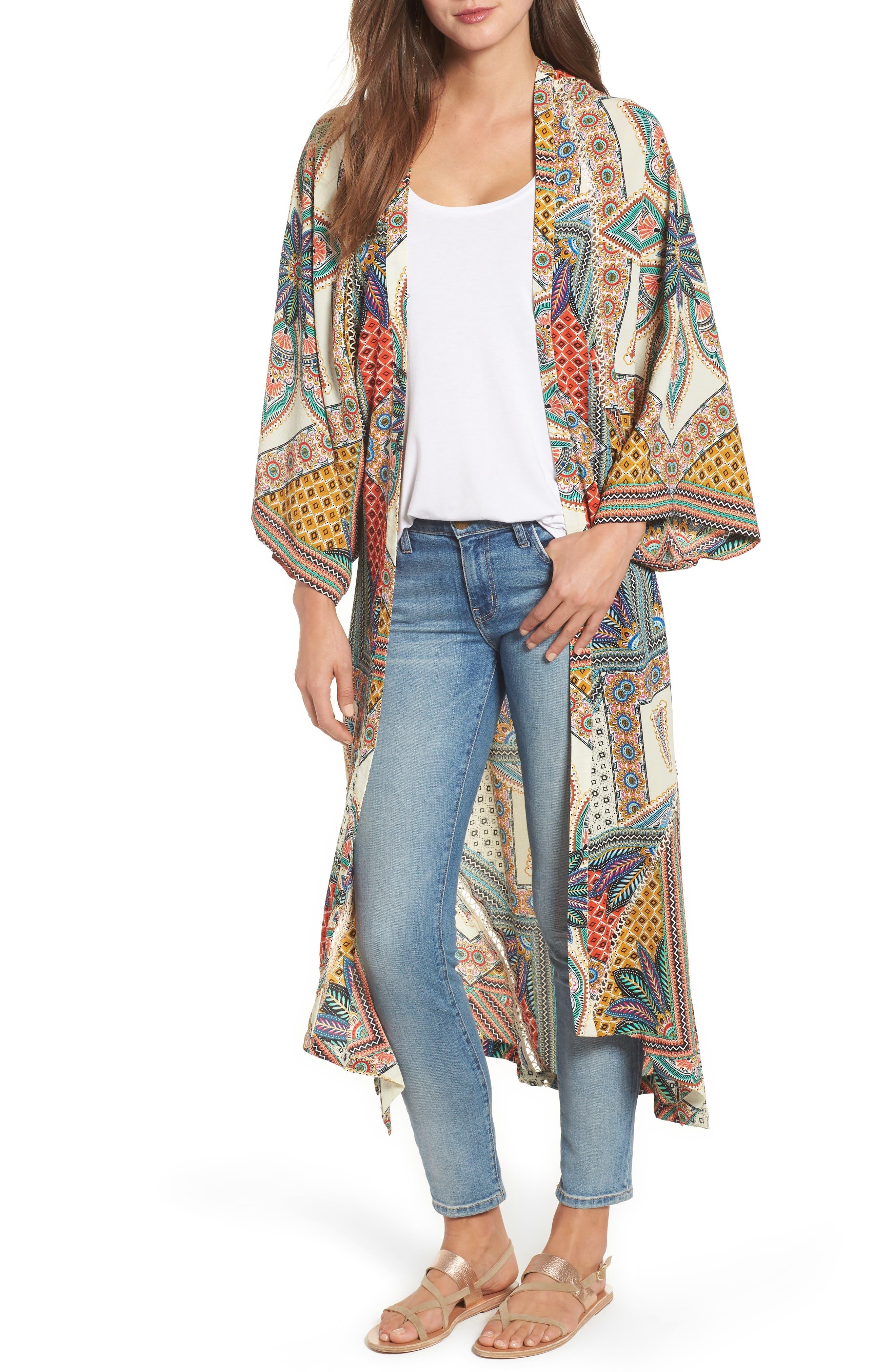 Scarf Print Kimono Jacket,                             Main thumbnail 1, color,                             Multi