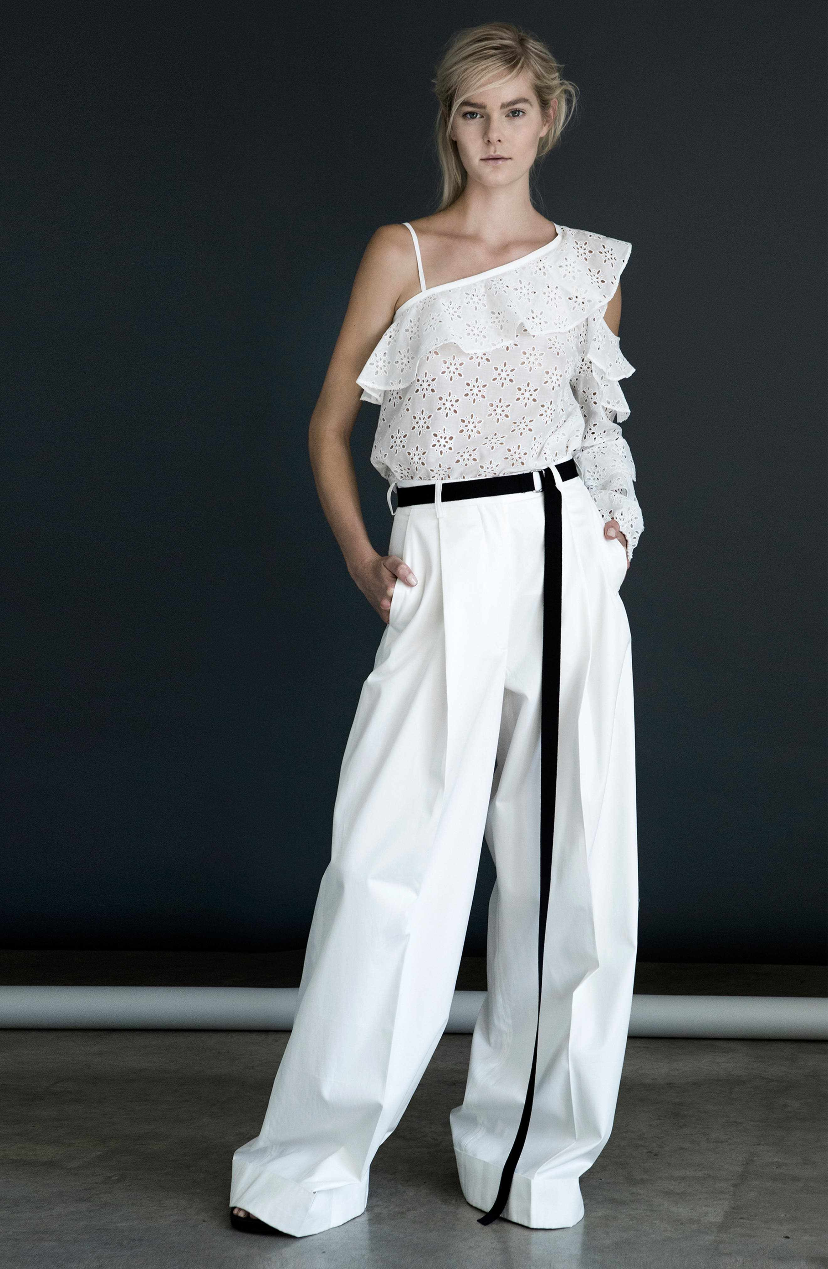 High Waist Wide Leg Pants,                             Alternate thumbnail 2, color,                             Ivory