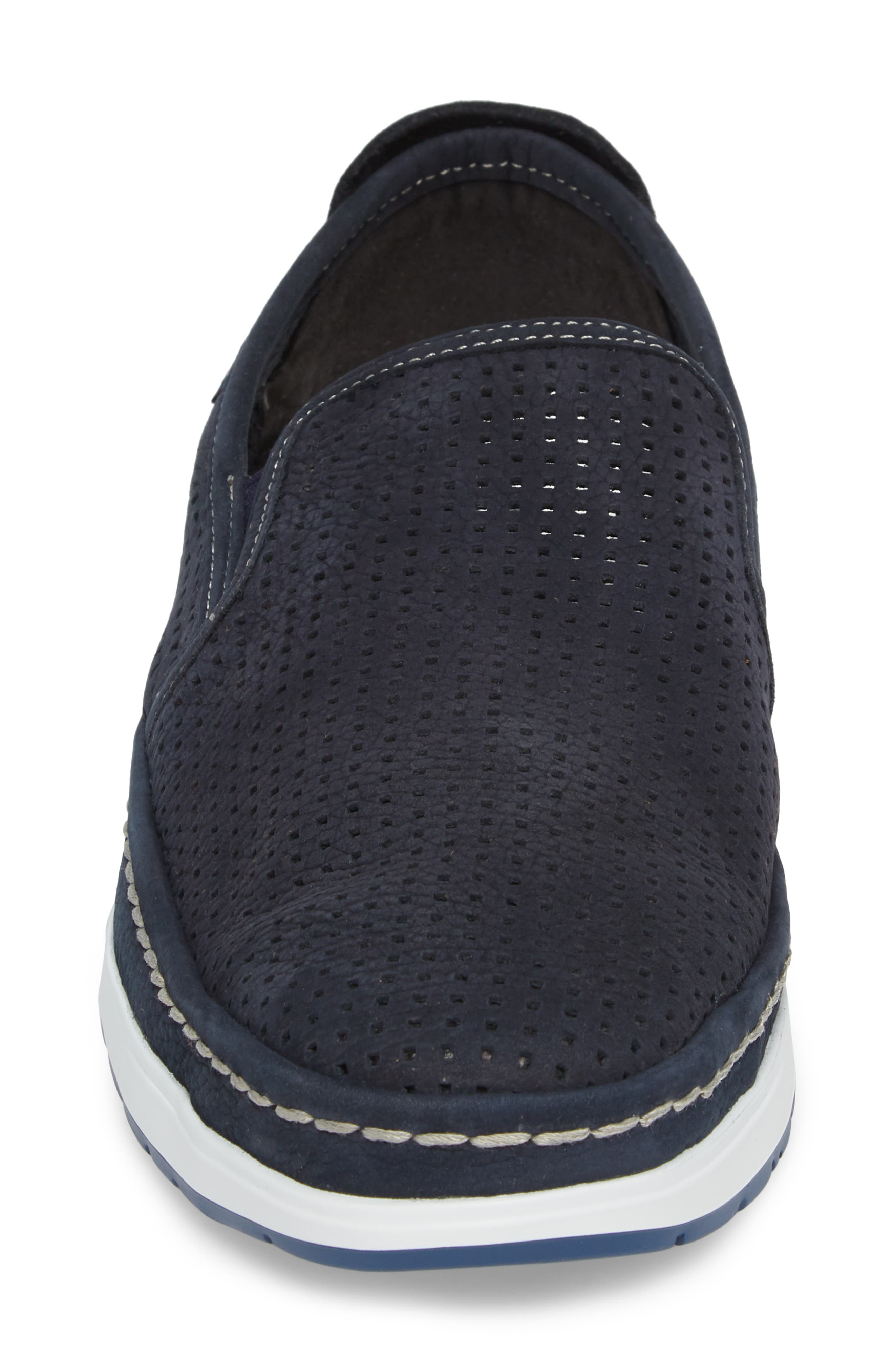 Hadrian Perforated Slip-On,                             Alternate thumbnail 4, color,                             Navy