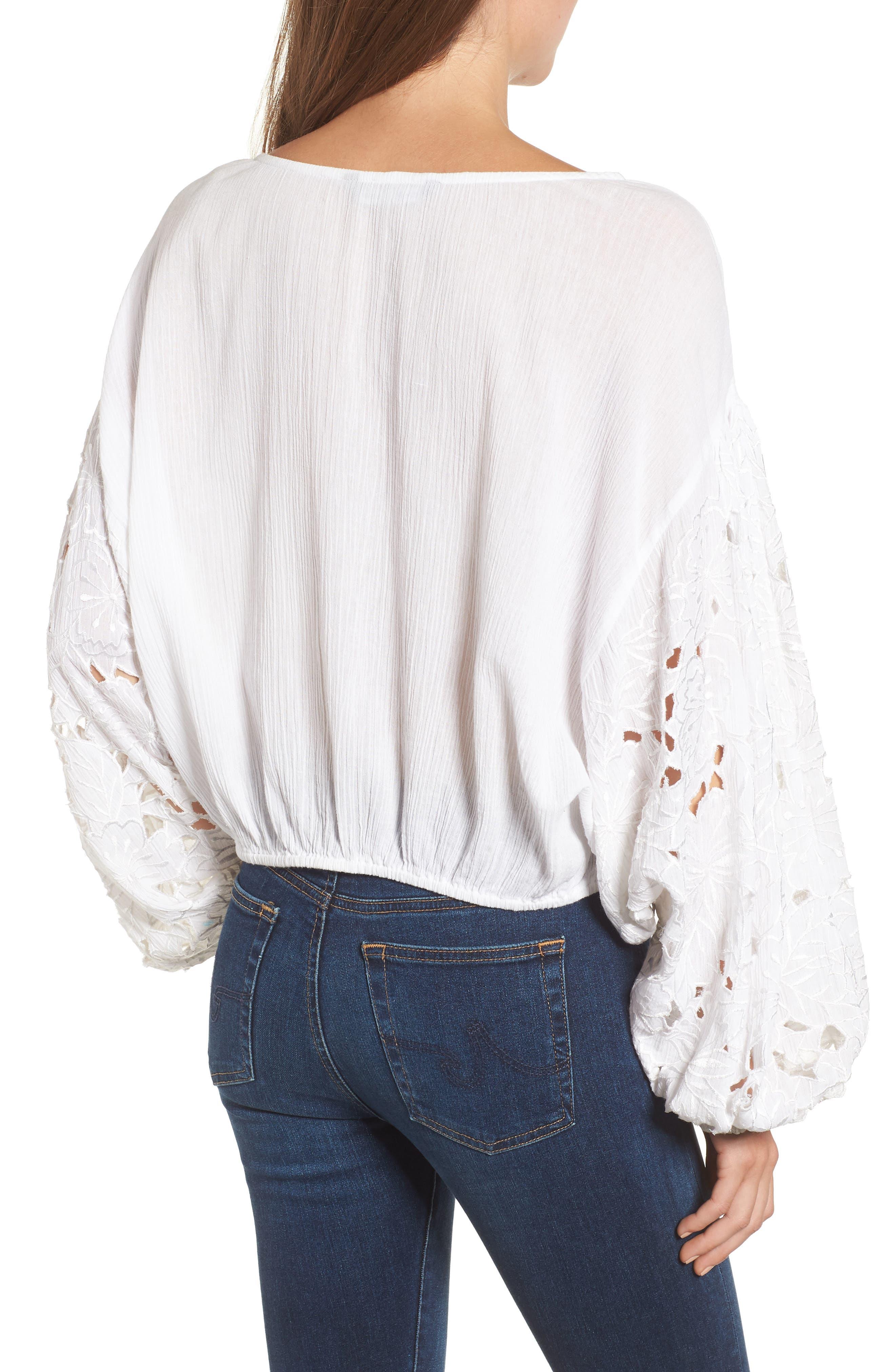 Tie Front Cut Floral Sleeve Cotton Blouse,                             Alternate thumbnail 2, color,                             White