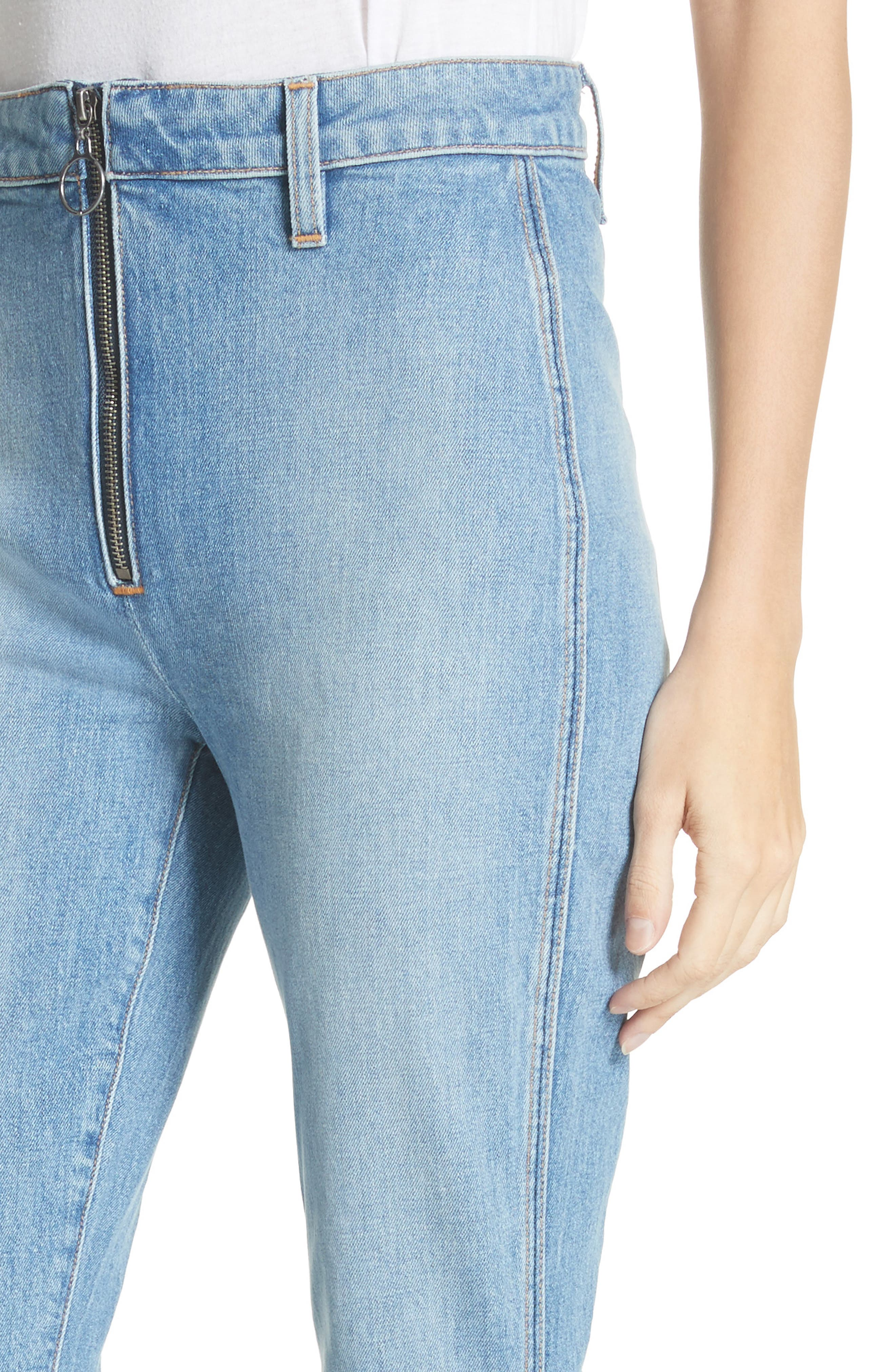AO.LA Beautiful Exposed Zip Bell Bottom Jeans,                             Alternate thumbnail 4, color,                             Sweet Emotion