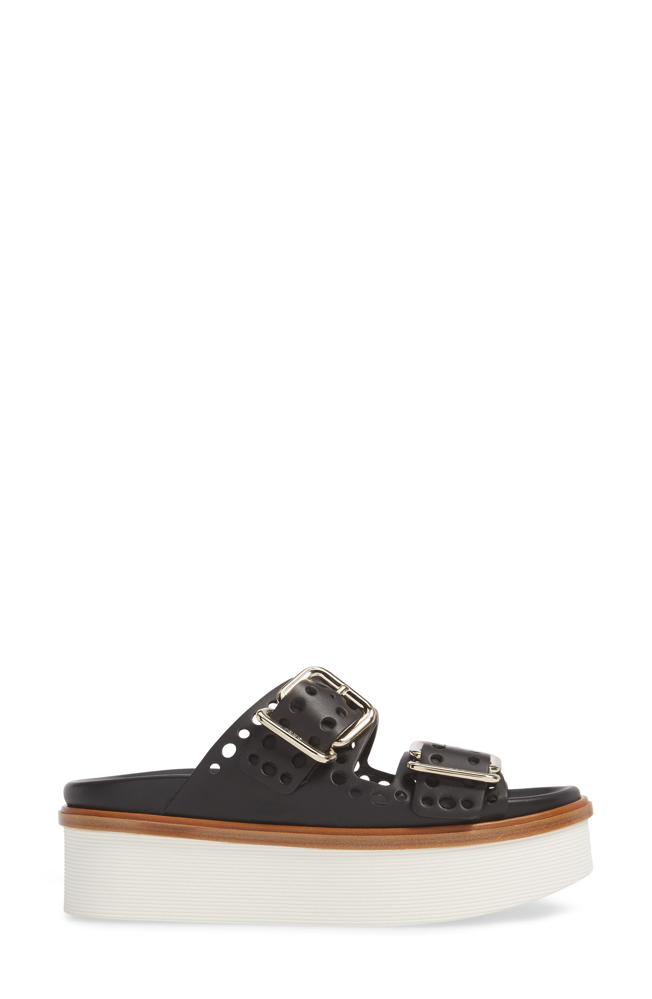 Perforated Platform Slide Sandal,                             Alternate thumbnail 3, color,                             Black