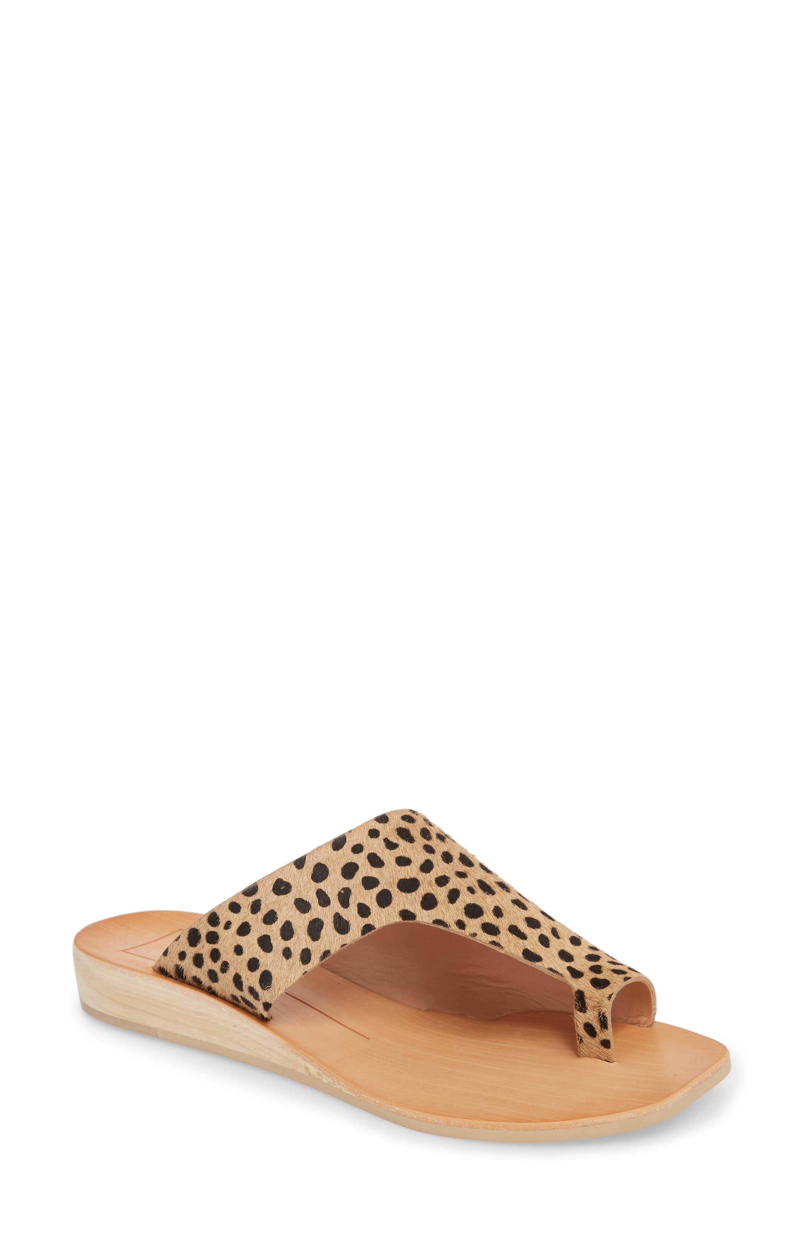 Hazle Genuine Calf Hair Sandal,                             Main thumbnail 1, color,                             Leopard