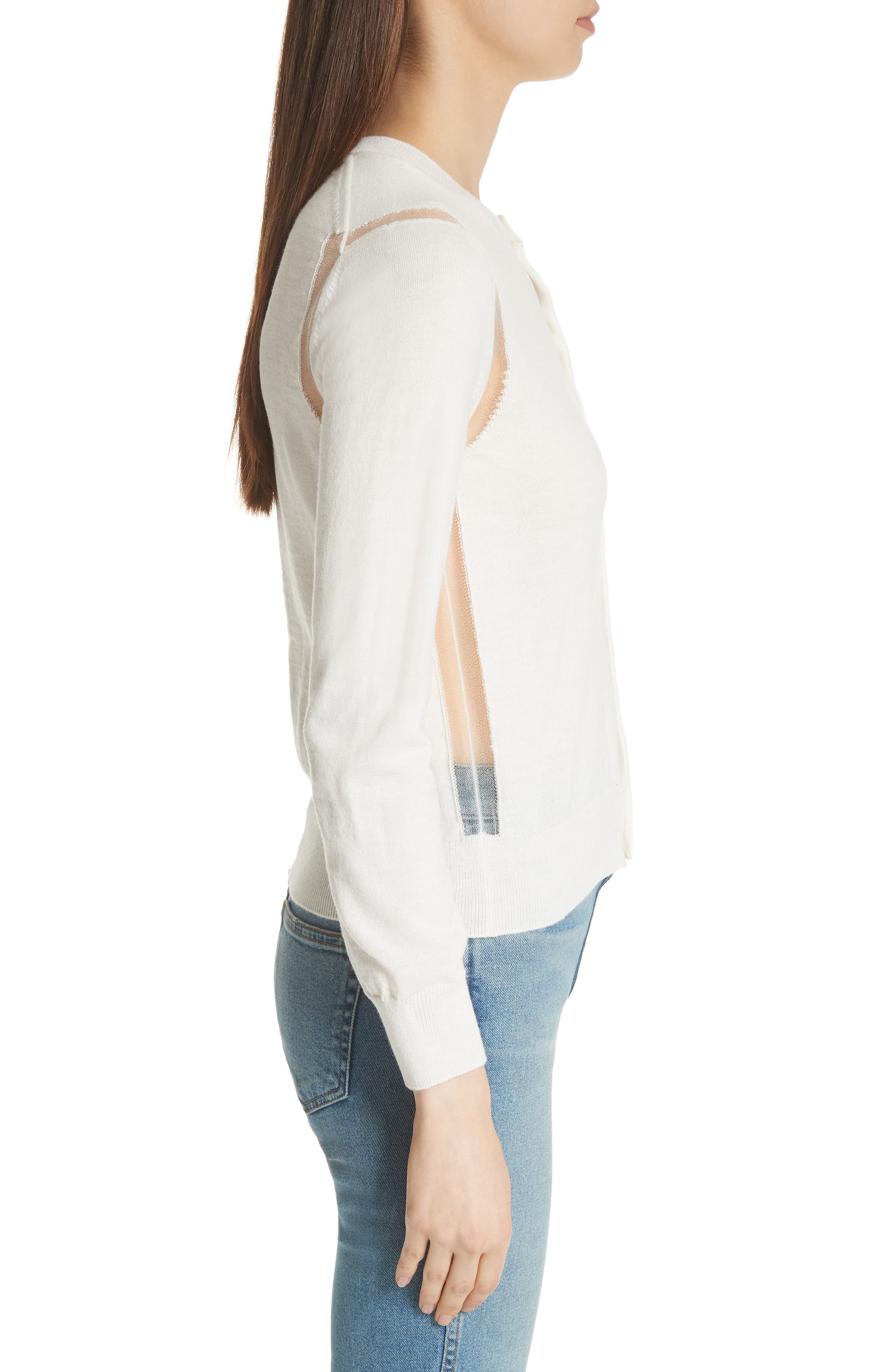 Sheer Panel Button Cardigan,                             Alternate thumbnail 3, color,                             Off White