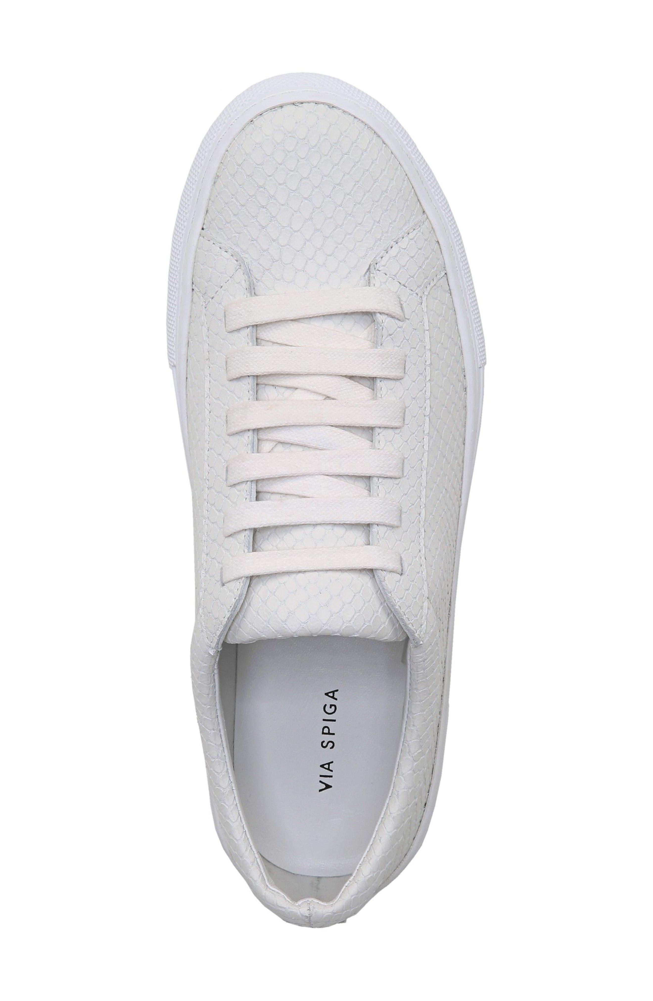 SUIV2 Snake Embossed Sneaker,                             Alternate thumbnail 4, color,                             Porcelain Leather